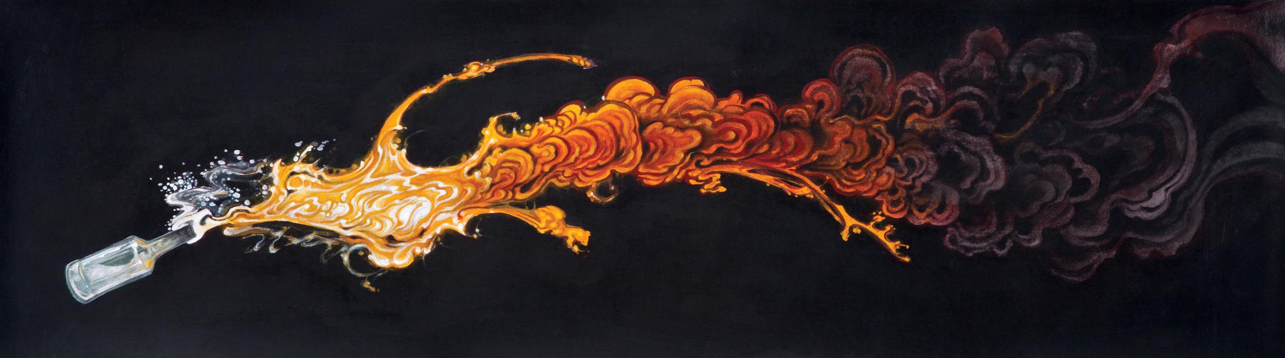 "Christopher Brand.  Molotov (All Involved) . 2015 - acrylic on fabric, 18"" x 60""."