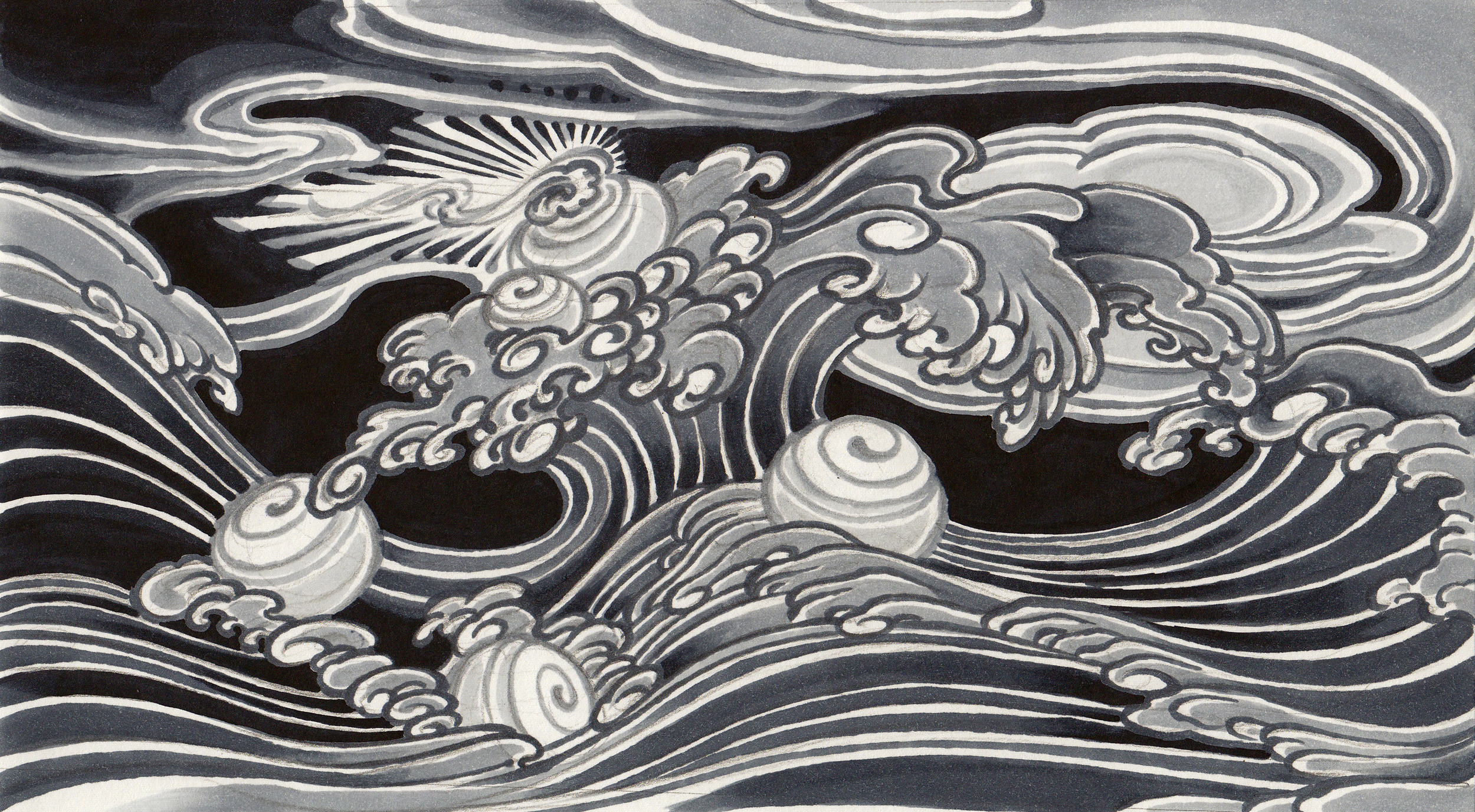 """Christopher Brand.  Untitled (Tribute to Nami No Ihachi) . 2012 - ink on paper, 7"""" x 11""""."""