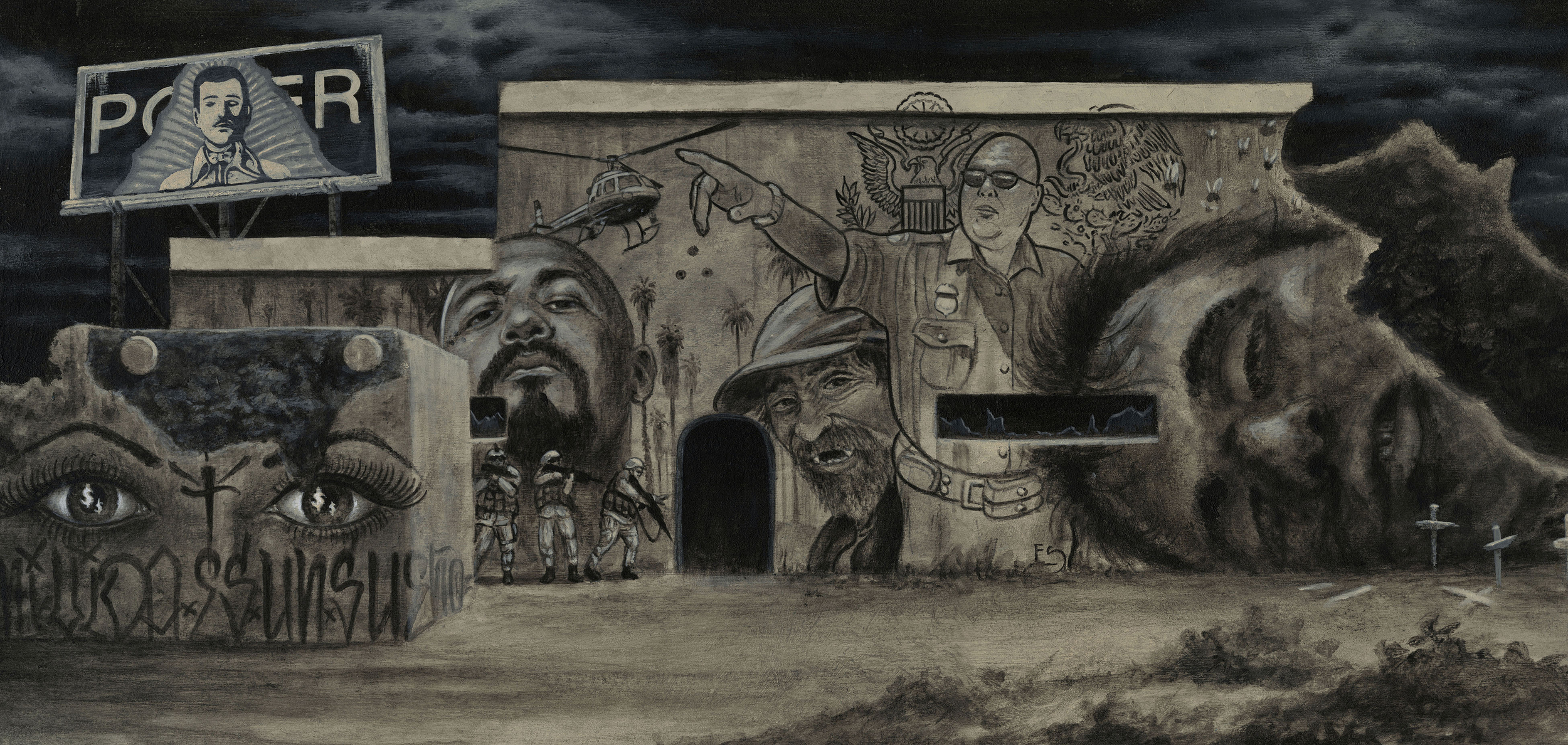 Evan Skrederstu & Steve Martinez.  Southwestern Politics . 2014 - acrylic on board, 1' x 2'.