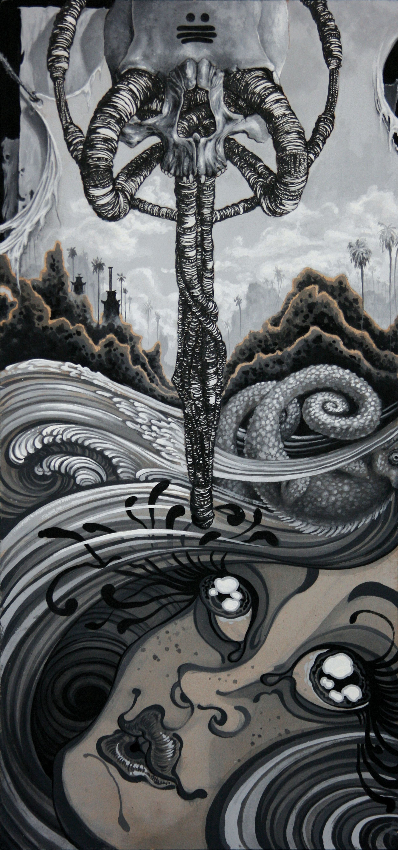 "Steve Martinez, Evan Skrederstu & Chris Brand.  Untitled (L.A. Stories contest) . 2013 - acrylic on board, 23"" x 12""."