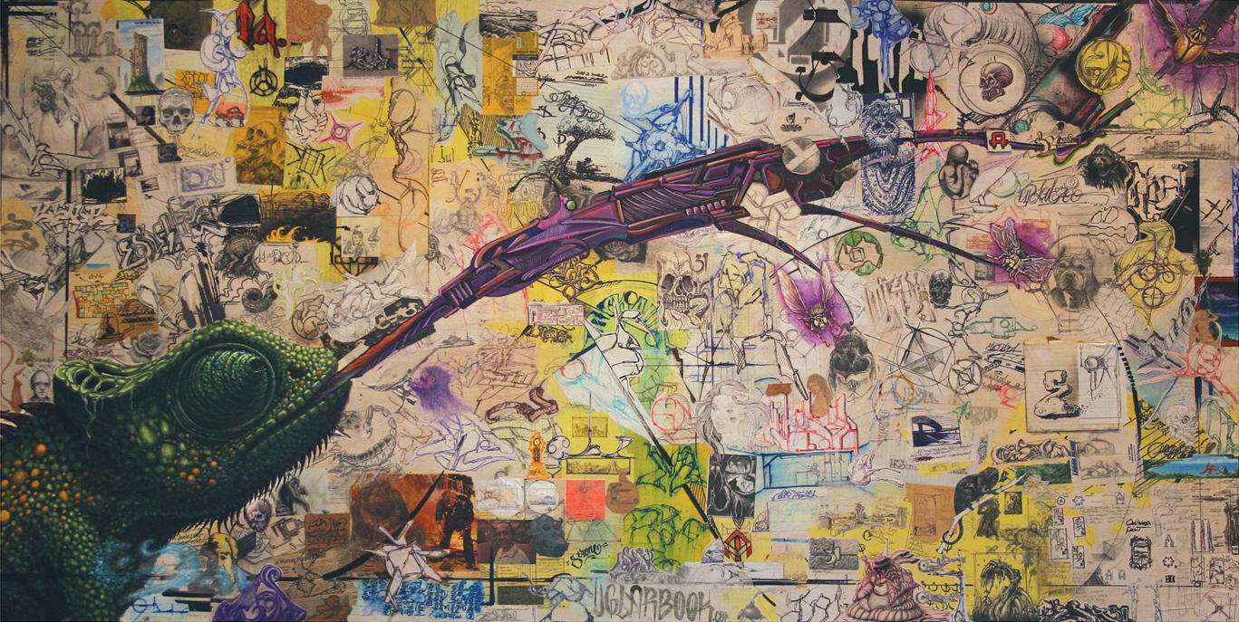 Evan Skrederstu & Jose A. Lopez.  Adapt and Improvise . 2011 - acrylic and collage on board, 4' x 8'.