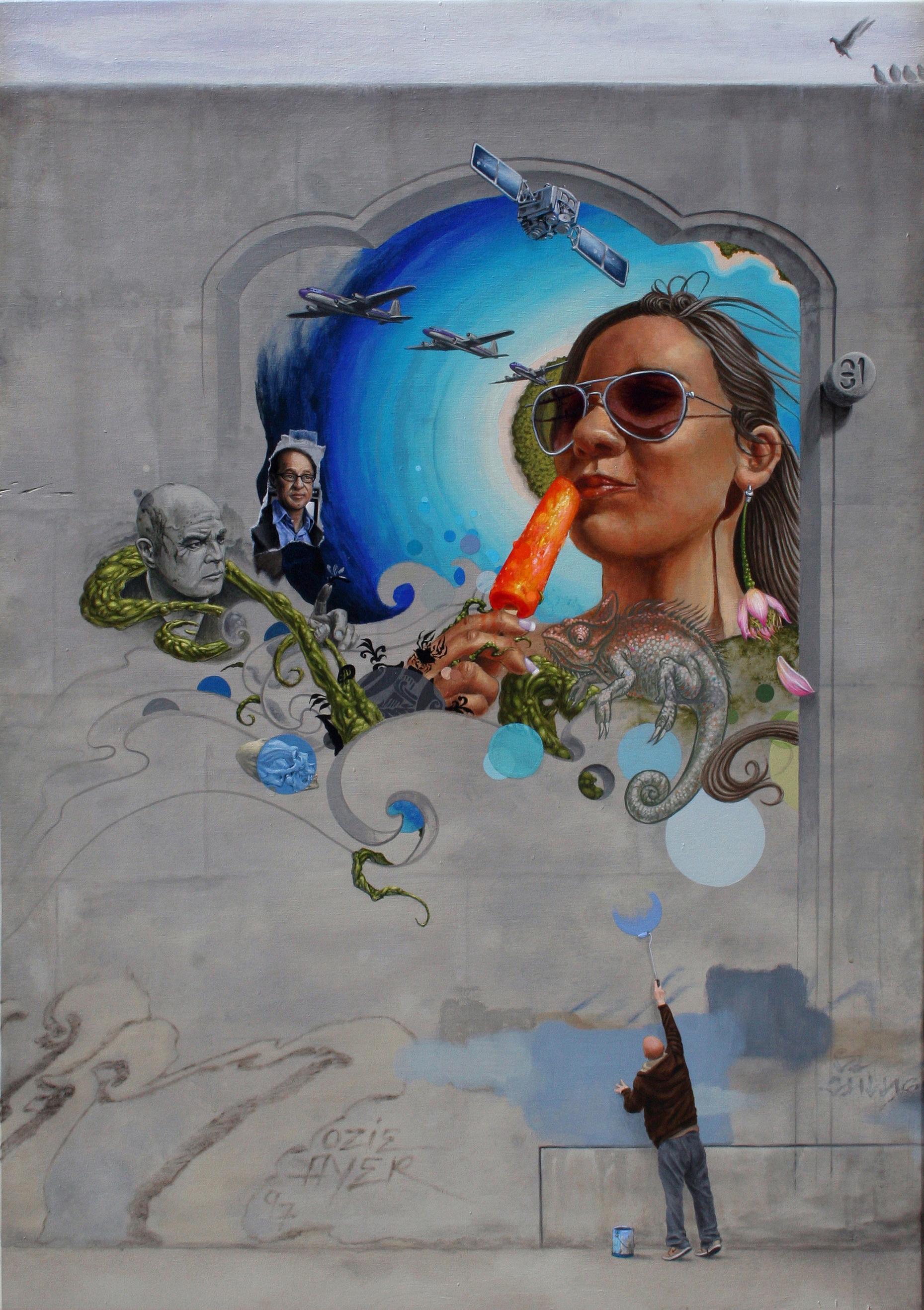 Evan Skrederstu.  Escape . 2011 – acrylic on board, 24″ x 34″.