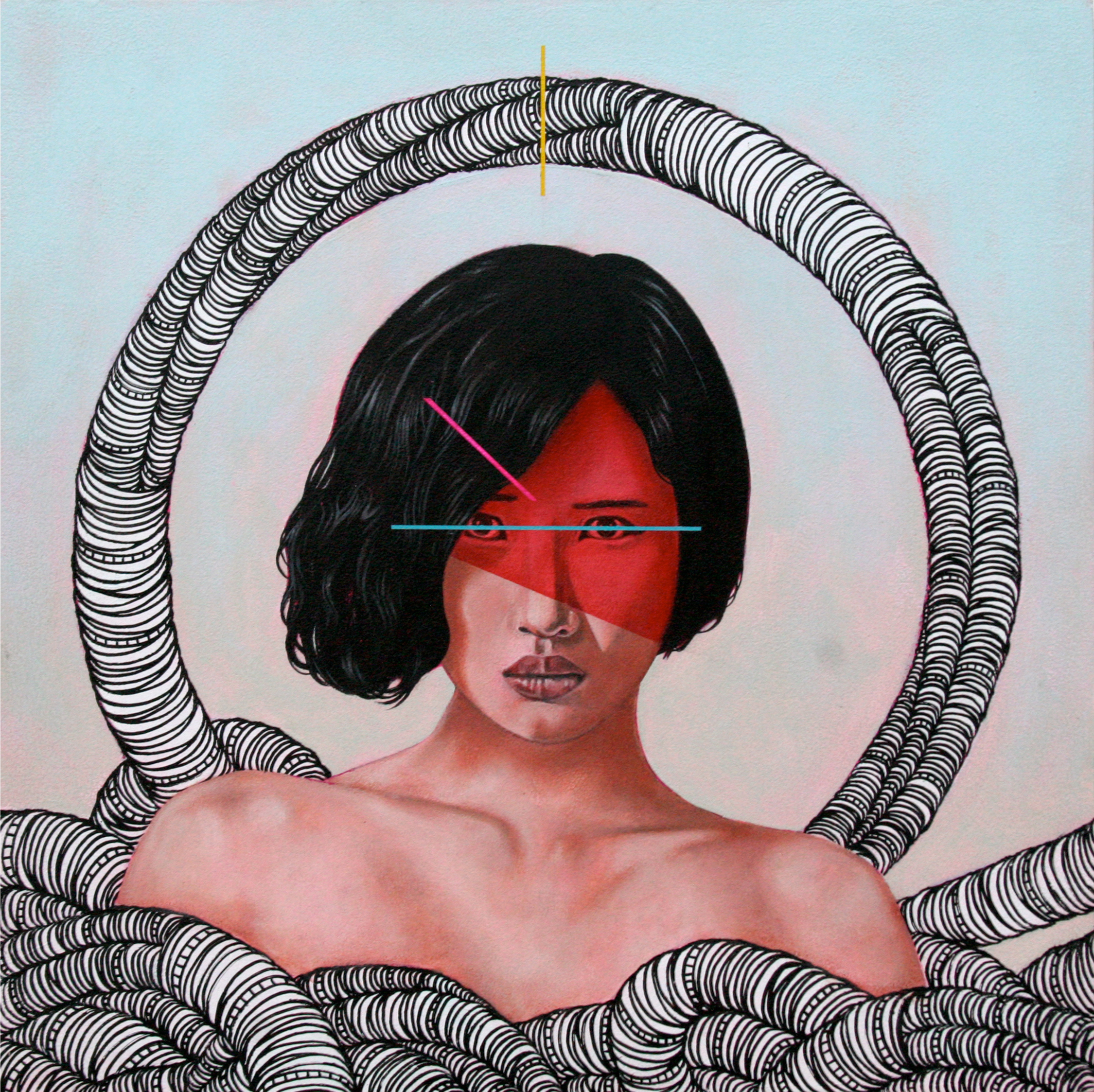 "Steve Martinez.  Miki . 2015 – acrylic on wood, 12"" x 12""."