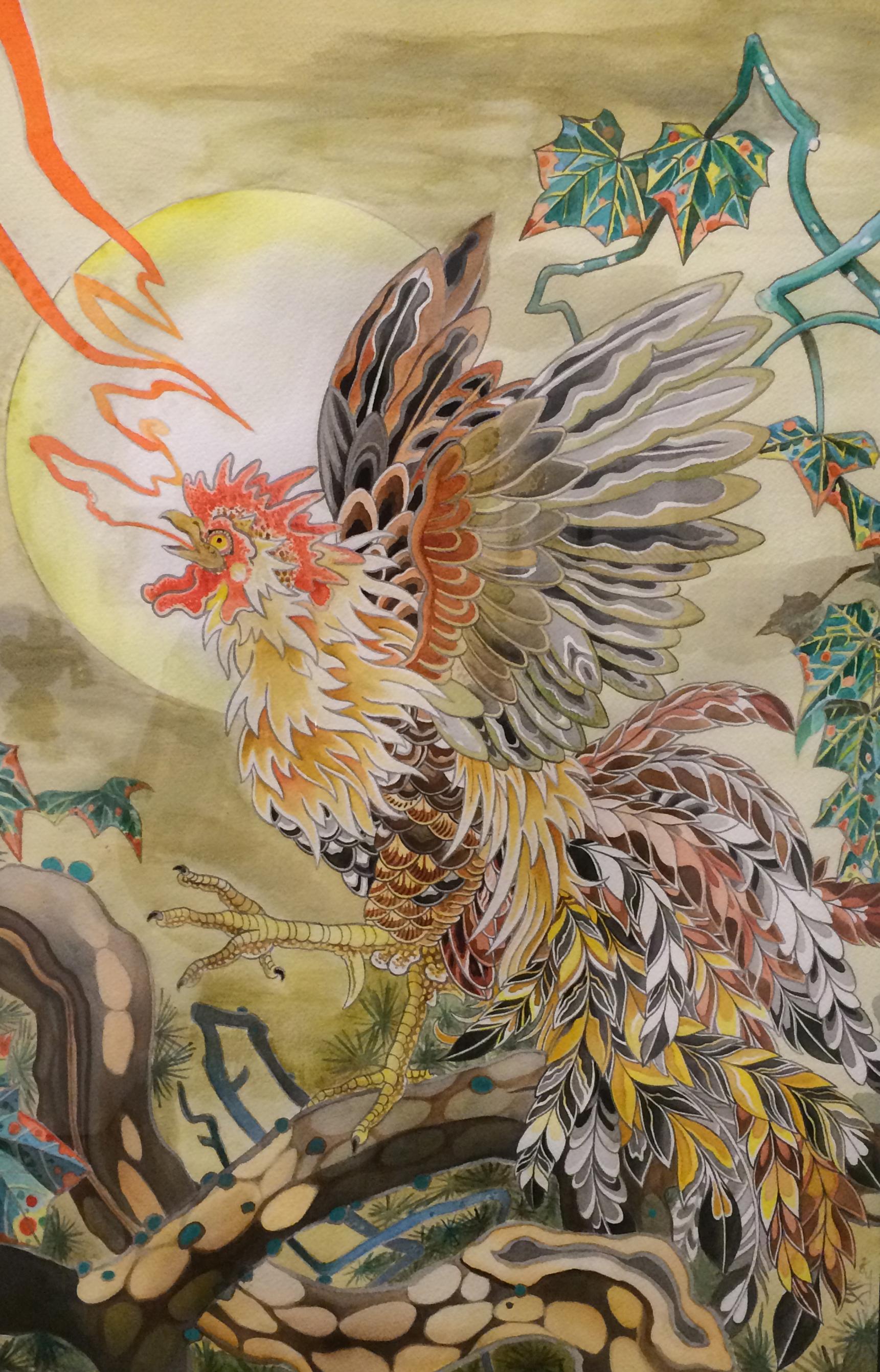Espi.  Basan . 2014 - watercolor on paper, 2.5' x 2'.
