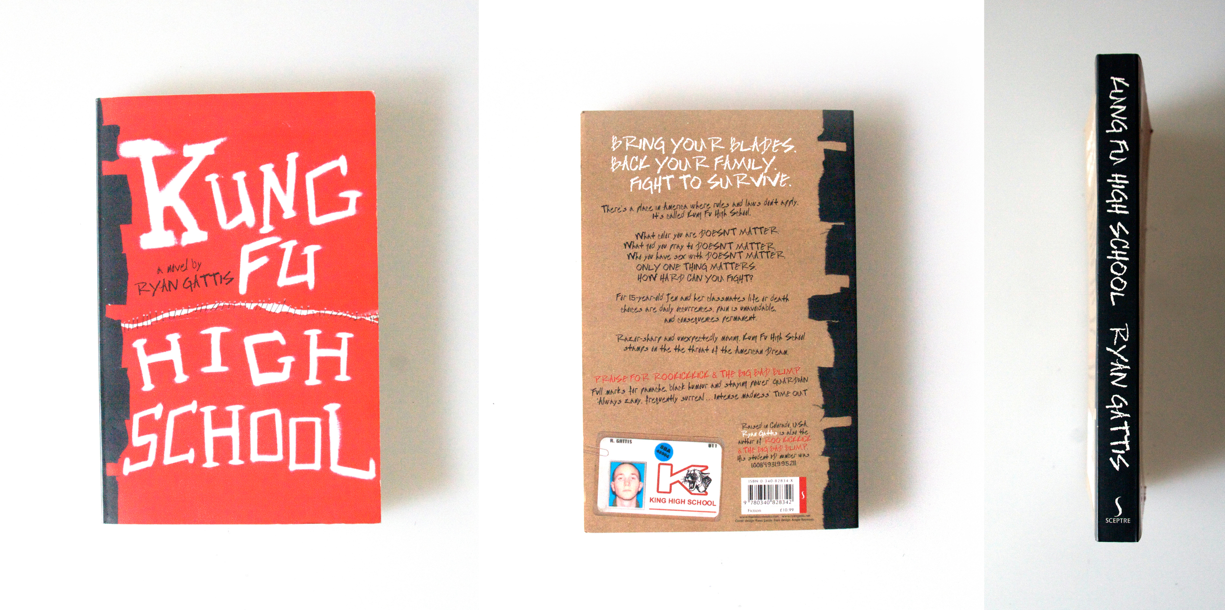 Concept & Handmade Cover Design for  Kung Fu High School  published by Sceptre (UK), 2005.