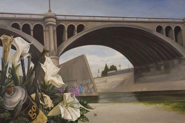 """Old Cover"" 2007 2'x4' By @cbrandworks @evanskrederstu @stevemartinezart  For the Ulysses Guide to the Los Angeles River  #uglarworks #uglar #evanskrederstu #chrisbrand #stevemartinez #lariver #losangelesriver #bookscheckemout #book #stormdrains #losangelesarchitecture #flora #spraycan #lawildlife #fineart #painting #aerosol #theulyssesguidetothelosangelesriver"