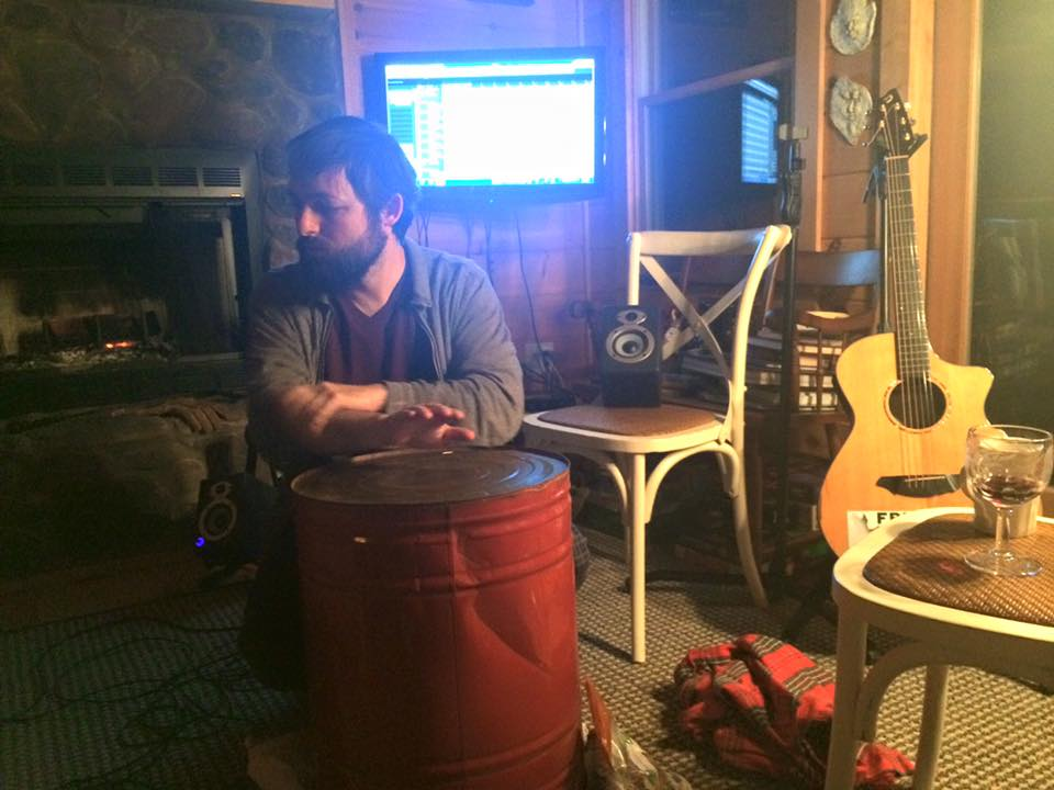 "Paul tracking percussion on ""Echoes of a Whole"" at Tim's cabin in Blue Ridge mountains."