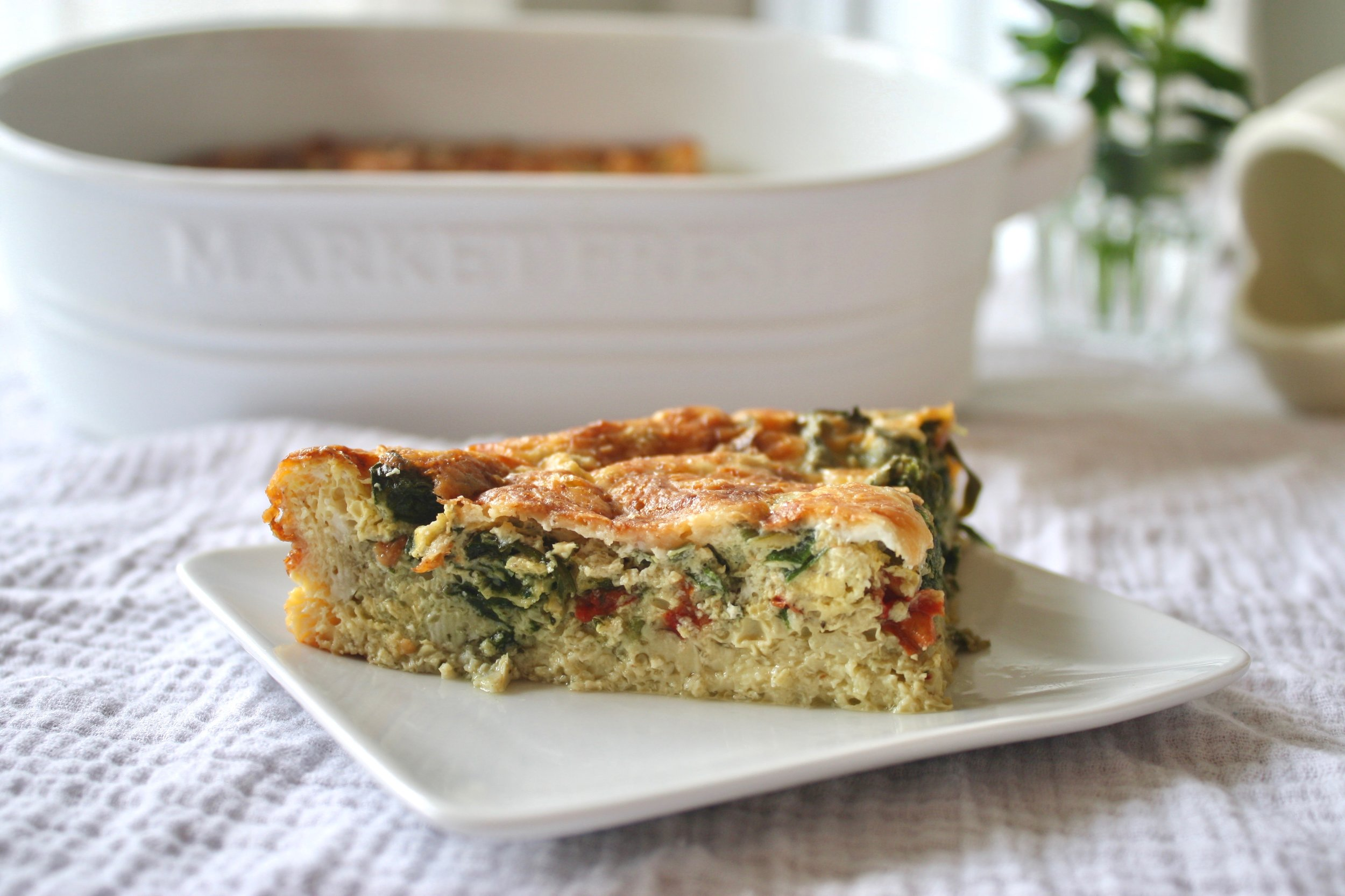 Red Pepper, Spinach and Cheddar Egg Frittata
