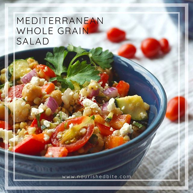 Looking for a new summer salad? 🥗 . . This Mediterranean Whole Grain Salad contains a wealth of wholesome foods that all meld together to make the perfect savory salad. . . Filled with tomatoes, squash, onions, sorghum, chickpeas and more, it's got all the goodies the Mediterranean diet has to offer. Mix it up for next time friends come over or meal prep it for the week for lunch. . . Check out my profile or stories for the link! . . . . . . #Health #nutrition #diet #healthy #goodfood #food #healthyeats  #rd #instahealth #instafood  #wholefoods #foodshare #familymeals #rdapproved #recipe #healthyrecipe #mediterraneandiet #losangeles #summer #salad #wholegrains #bbq #foodporn