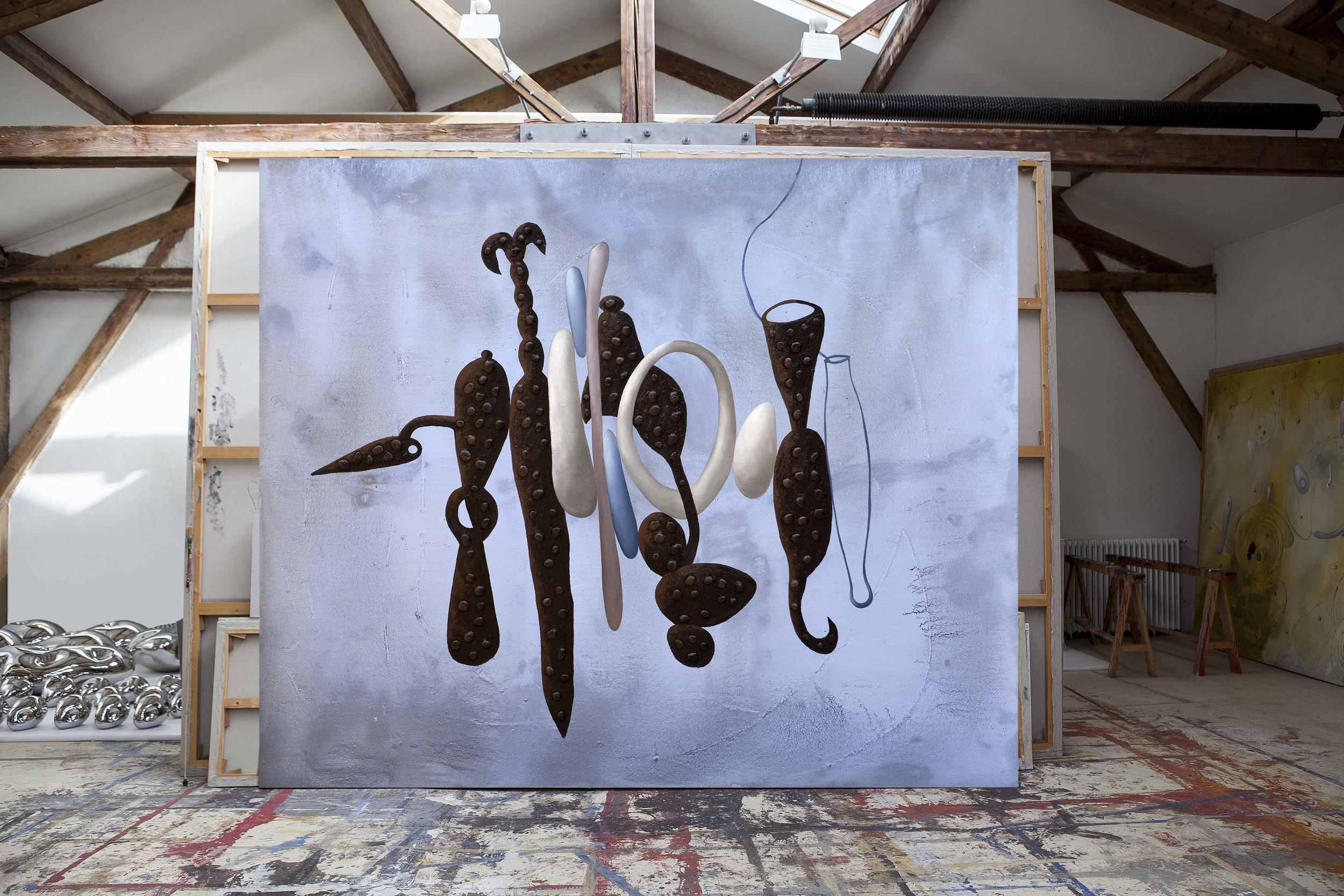 Richard Texier  blue painting in Workshop