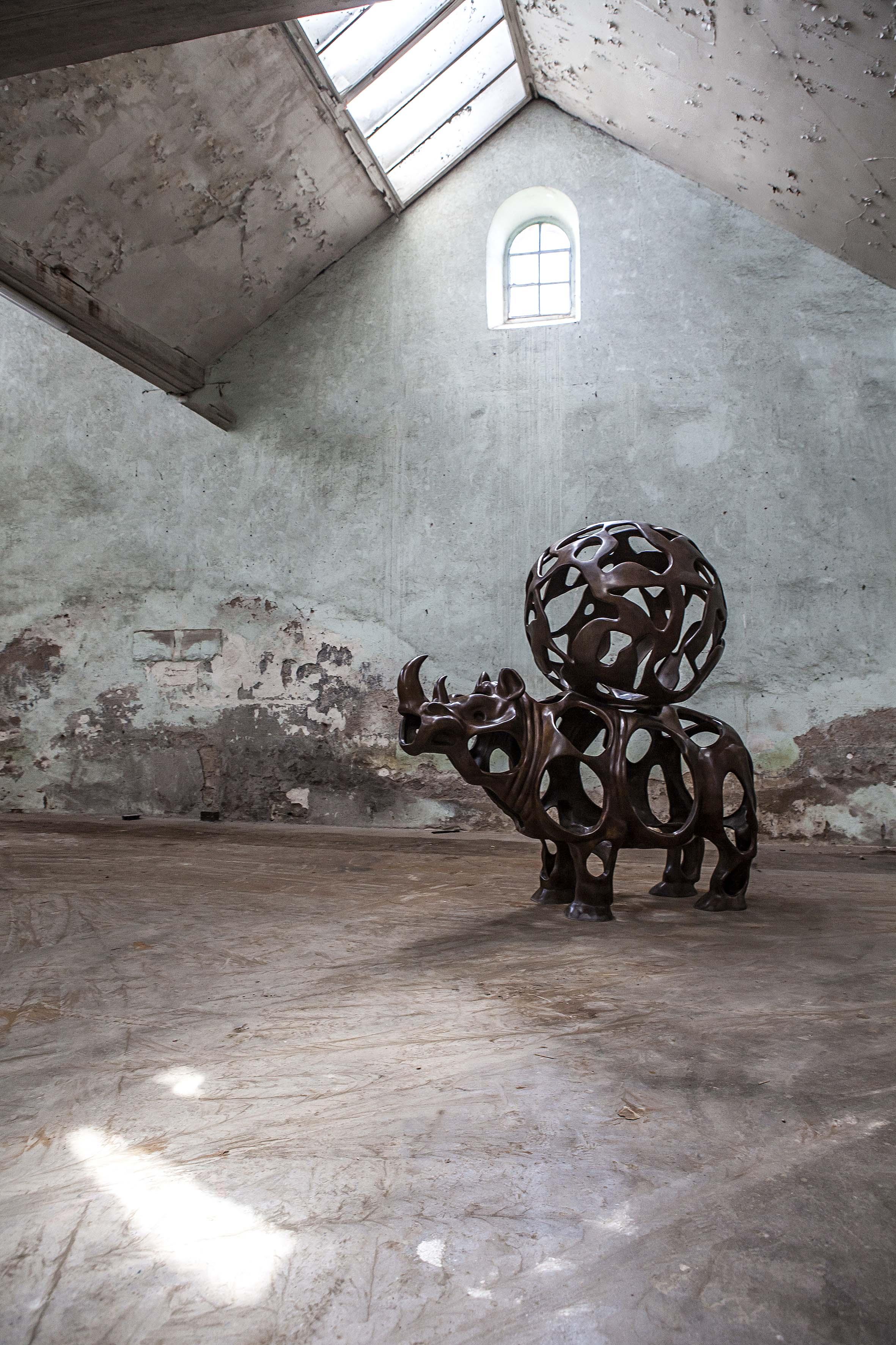 Richard Texier Bio Rhino Bronze sculpture