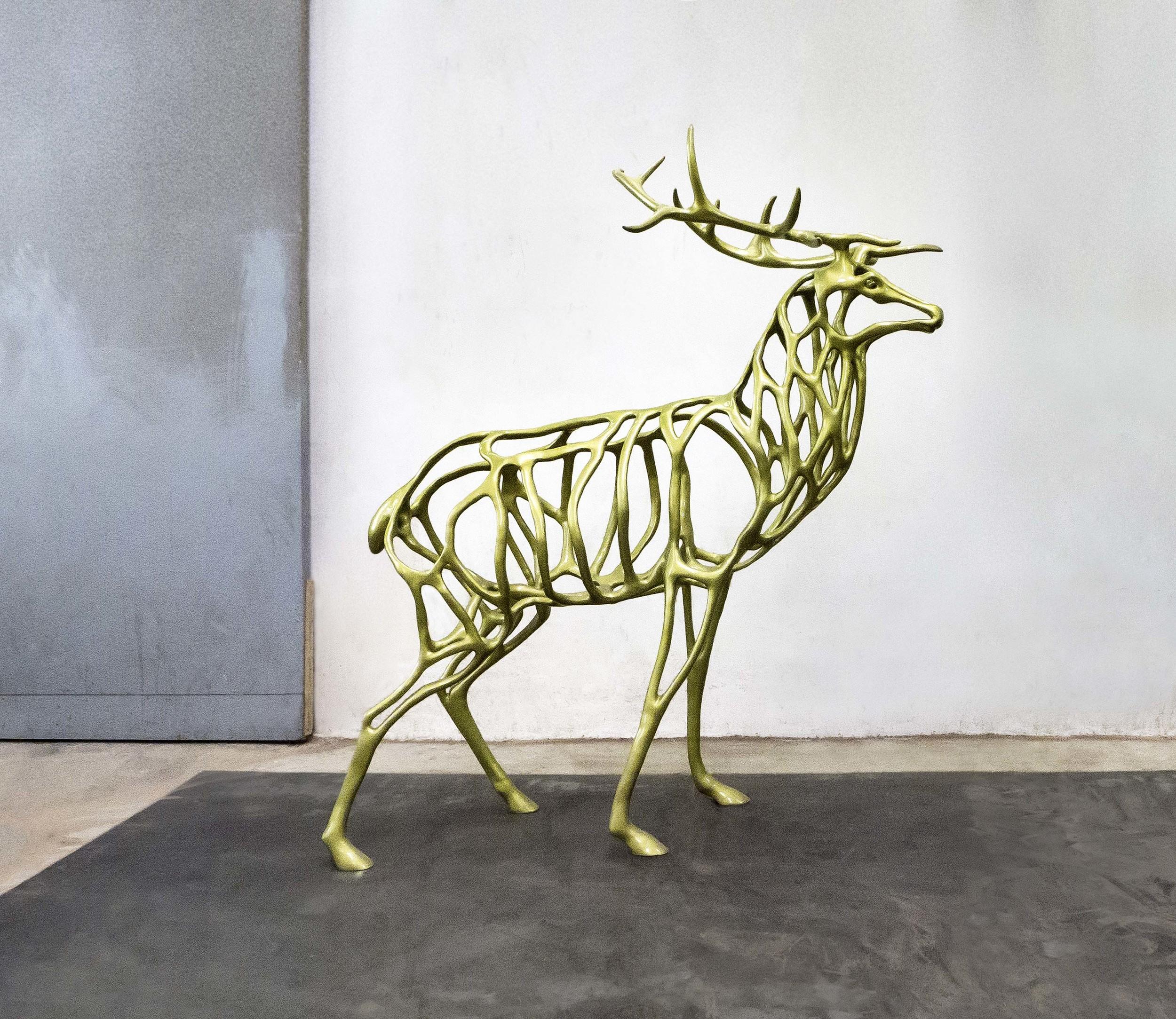 Richard Texier Deer bronze sculpture