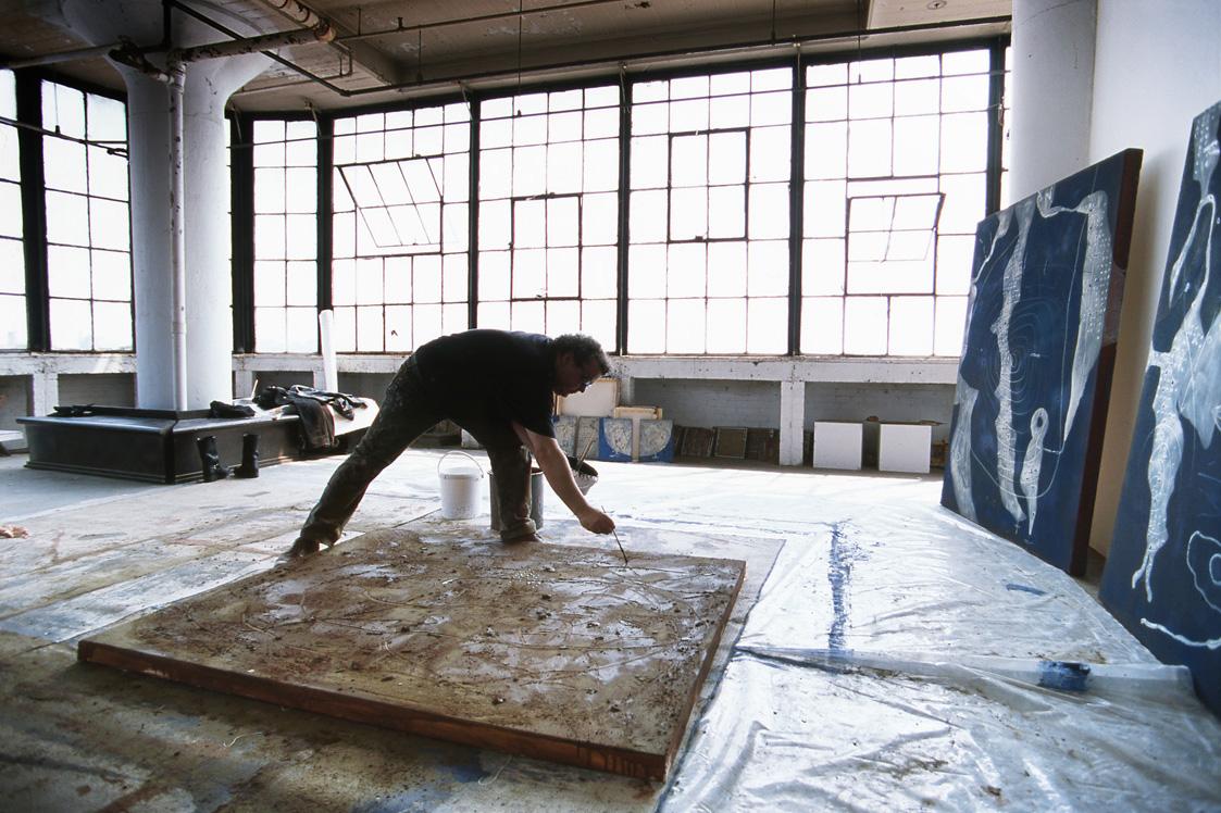 Richard Texier dans son atelier à New-york.