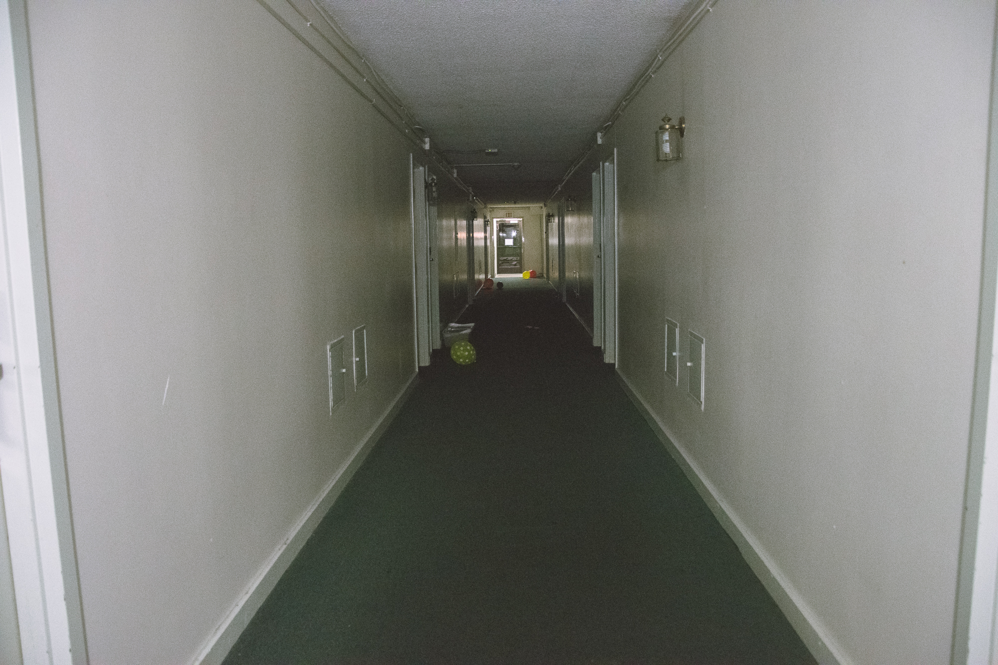"""power outage in Block B. walked through this dark hallway twice without having to turn on my flashlight at all and even turned to look back to see if I might find a surprise behind me. look, ma, your girl is not a scaredy-cat anymore! in her words, """"humans are much scarier than ghosts."""" I agree."""