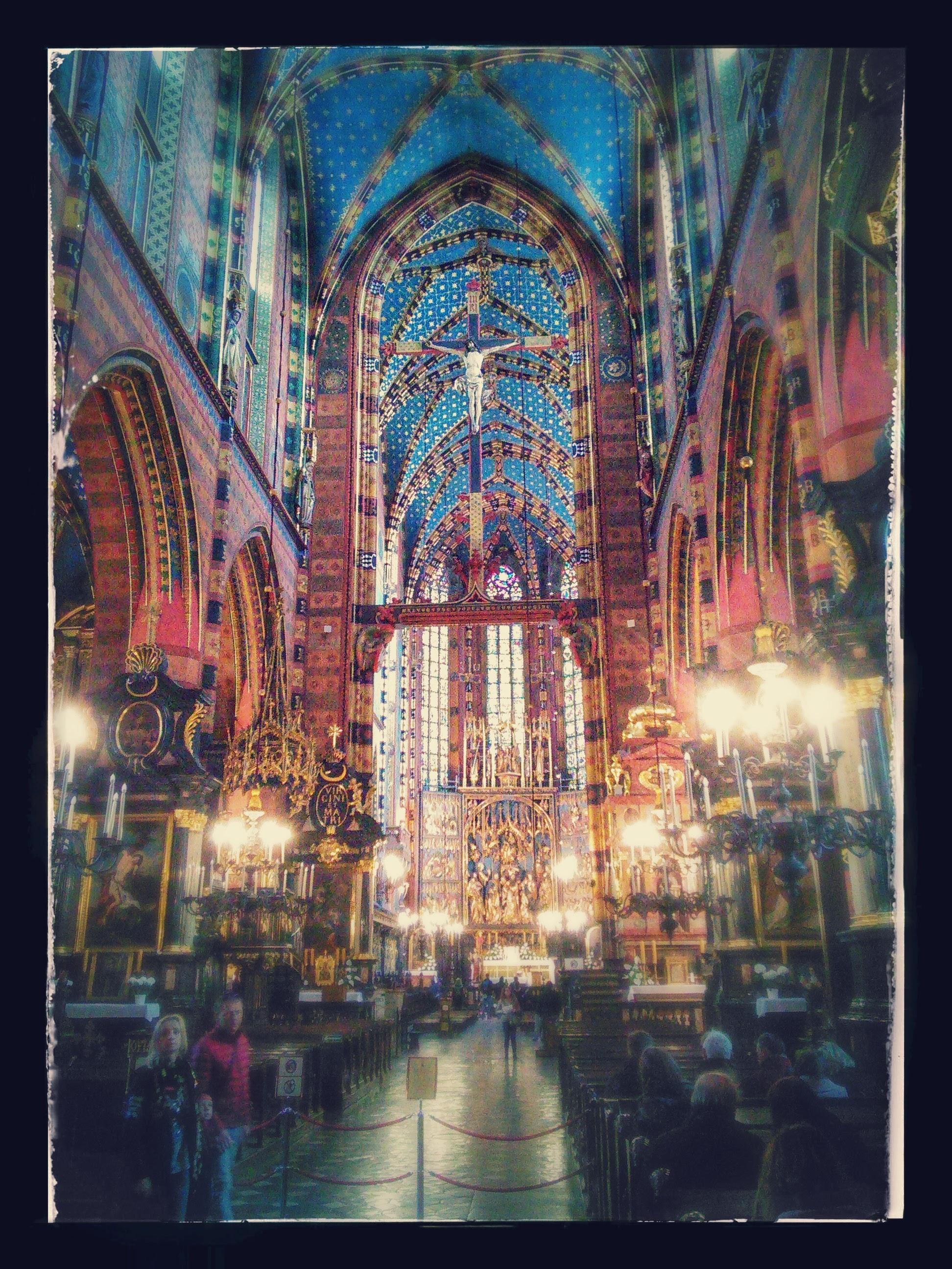 The inside of St Mary's Basilica in Krakow