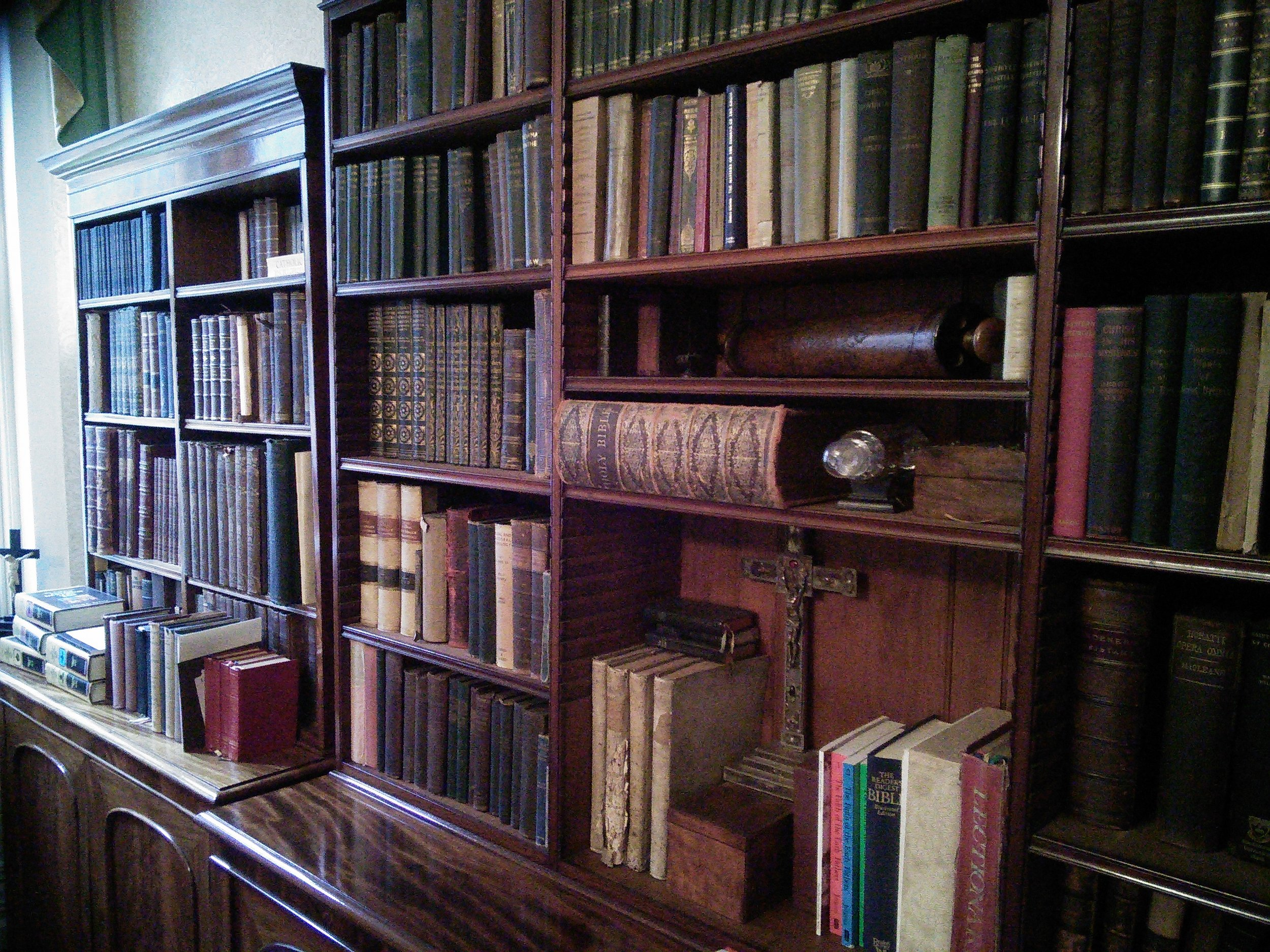 The bookcase which holds within it many secrets...
