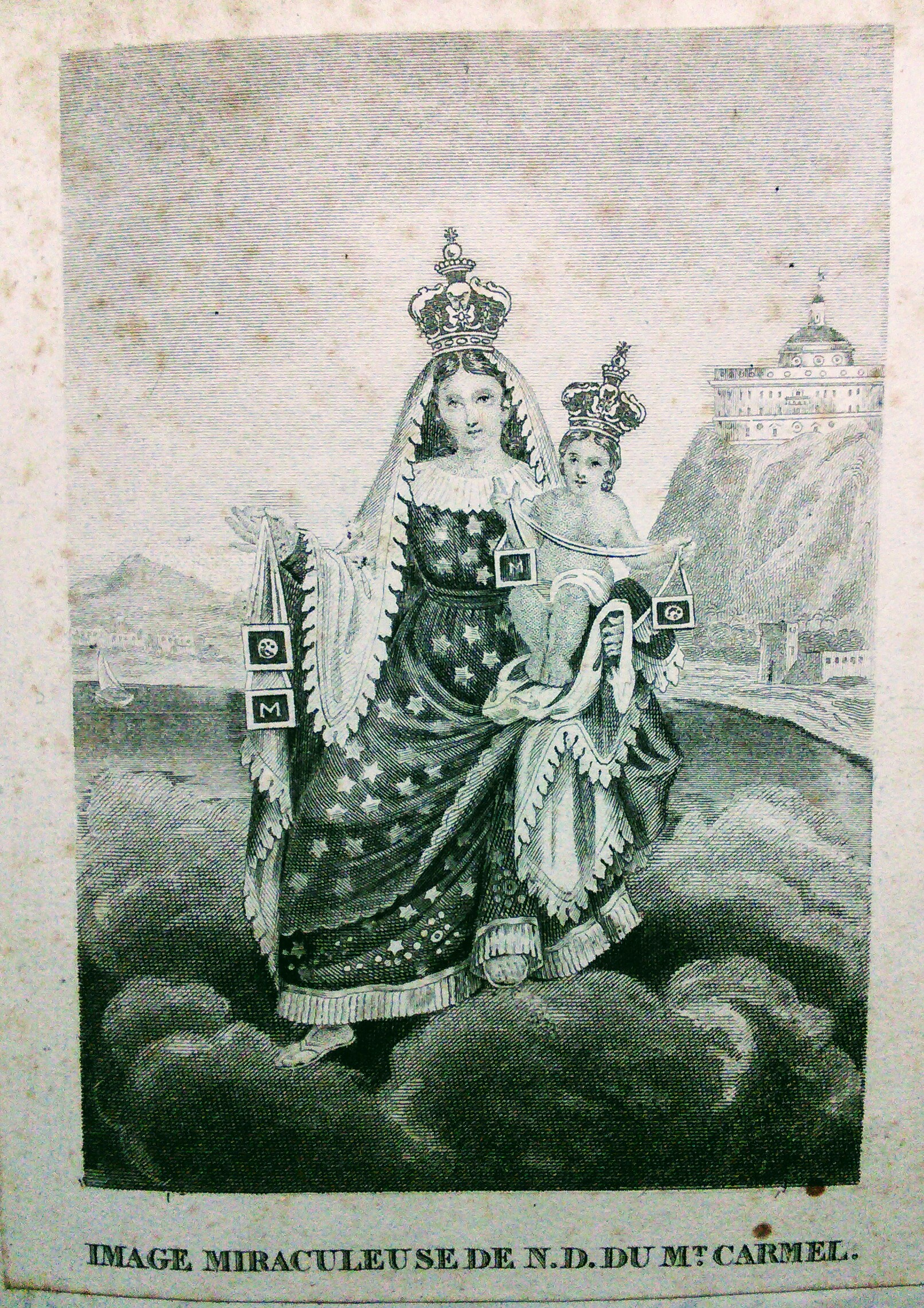 Prayer card of Our Lady of Mount Carmel holding out towards her scapulars, a saint to whom Margaret Coulston had great devotion.
