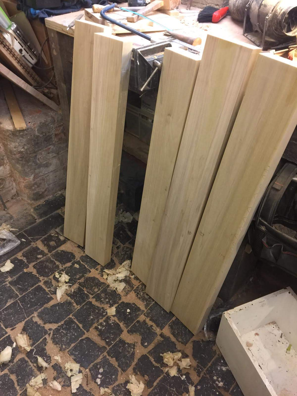 Beautiful oak being prepared for the back of the panel