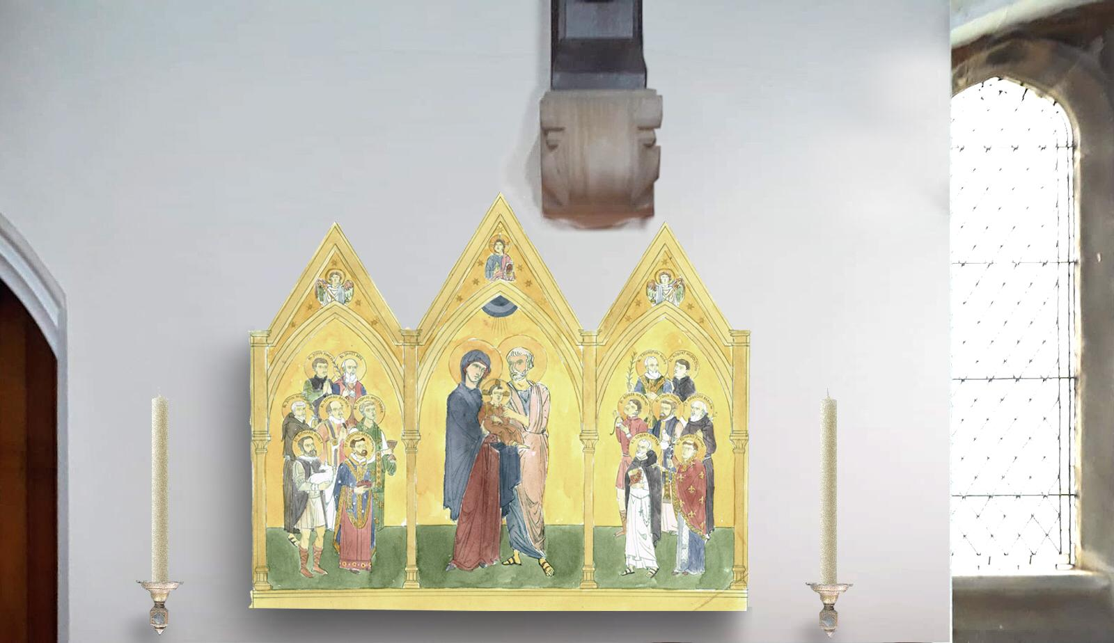 The shrine in site, in St Joseph's, to the right of the Confessionals. Artists impression.