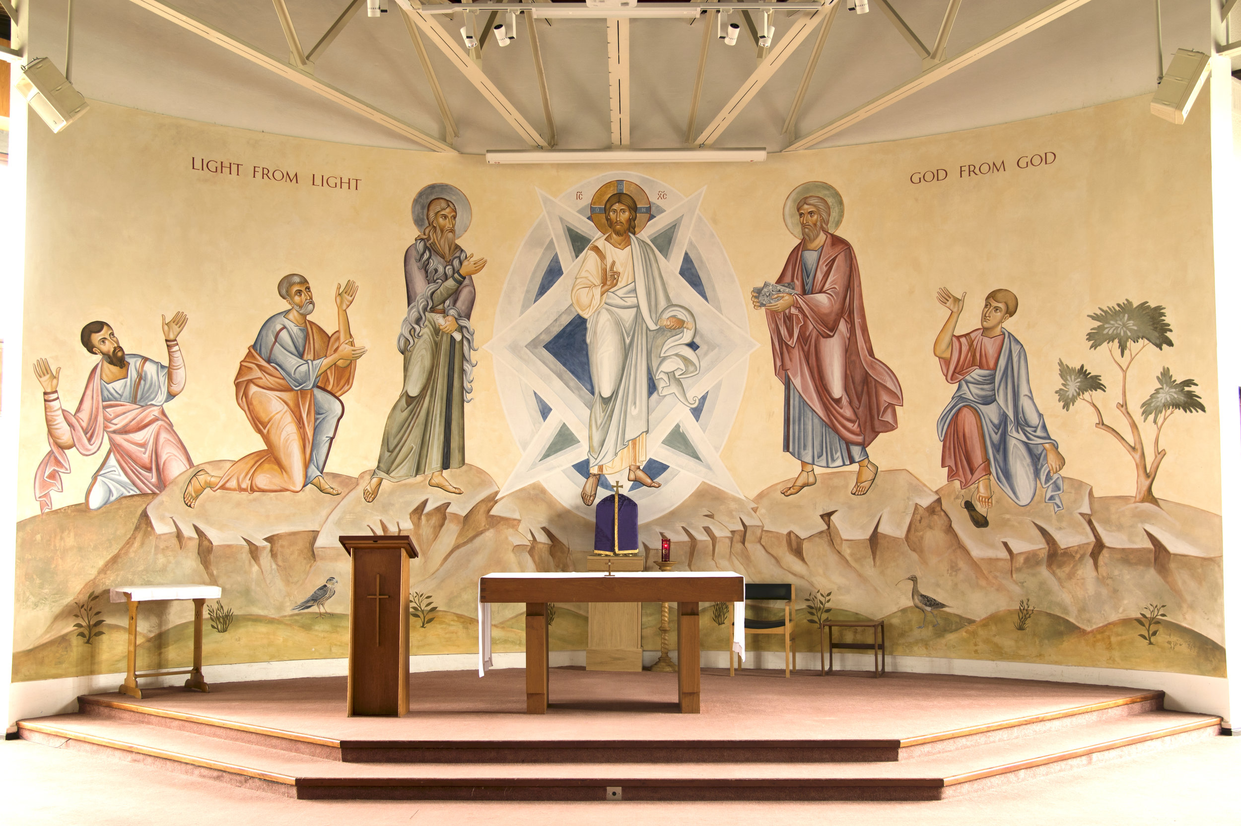 The Transfiguration Secco Icon at the Catholic Chaplaincy, Lancaster University, completed in 2017.
