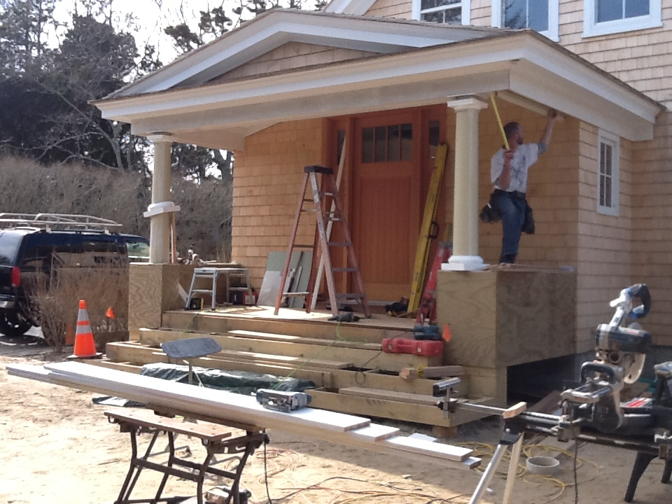 Construction of new front entrance in Water Mill, NY by Dennis Schorndorf