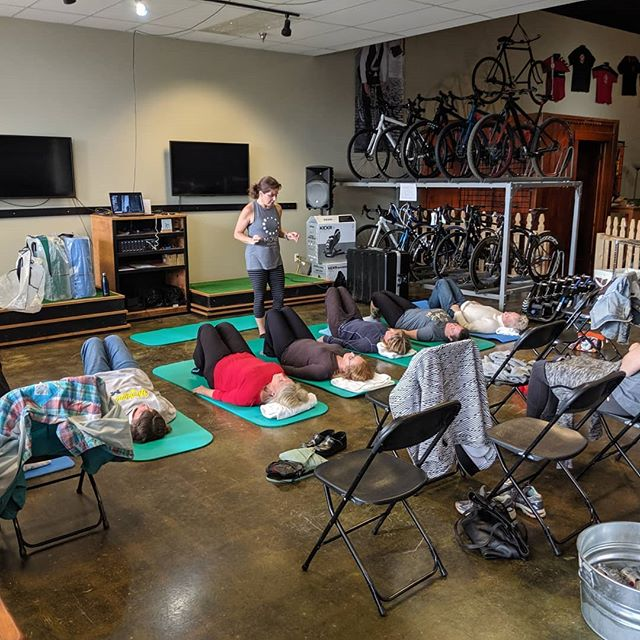 A big thank you to @movewellness for coming out for our Women's week! Elaine and her team are here to teach and inform about how cycling is a sport with repetitive movement and how that can lead to chronic tightness and pain.  They are walking through the structural and movement issues at play during cycling, discuss methods of prevention, and lead us in a series of post riding exercises to help alleviate some of those injuries.