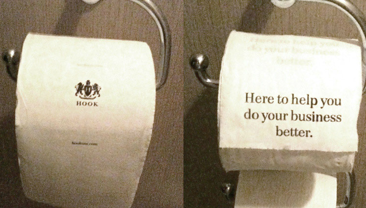 hook guerrilla self-promotion tp  swapped the tp out in the bathrooms at the ad age agency of the year award ceremony in new orleans.