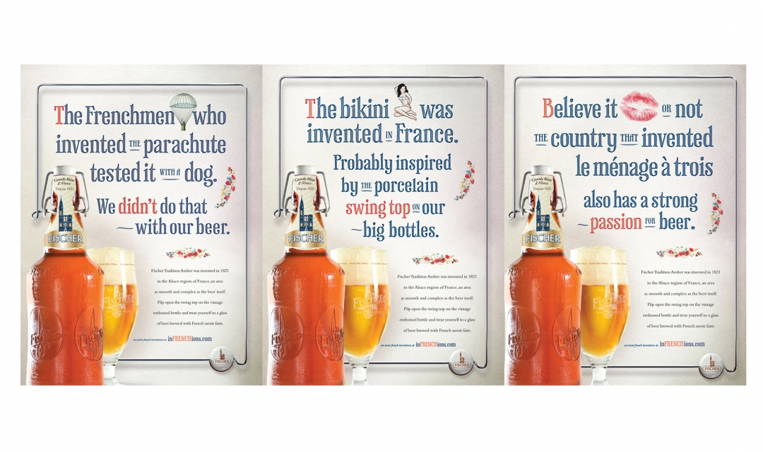 fischer beer - infrenchions campaign  included case cards, table tents, microsite, magazine ads. campaign won: best in print and best in show at the local addy awards.
