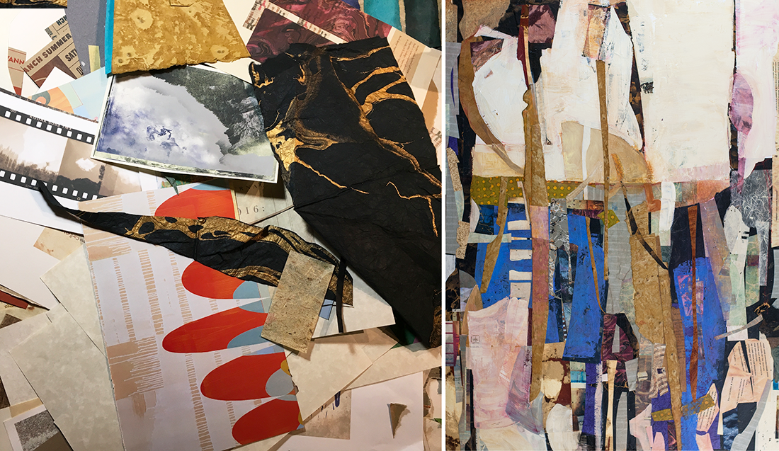 My current obsession is an exploration of a combination of collage & paint. This new direction in the Erosion Series was inspired by Lee Krasner's collage work during the abstract expressionism movement. After I read Mary Gabriel's   Ninth Street Women  —a book I couldn't put down—I was compelled  to readjust my thinking on my own studio practice.