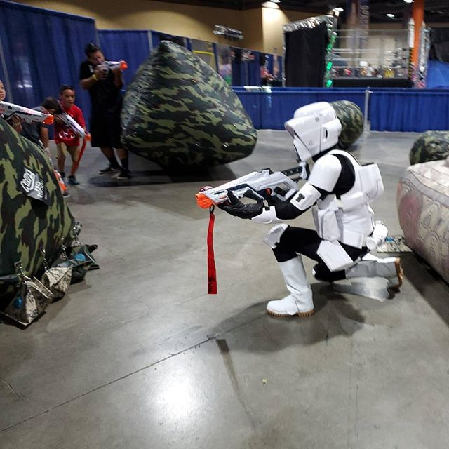 Scout Trooper defending the Empire. We're ready for another great day at the #longbeachcomiccon with laser tag on the show floor and an epic #Nerf war in room 102 (near check-in). #PartyXtreme #starwars #nerf #lasertag