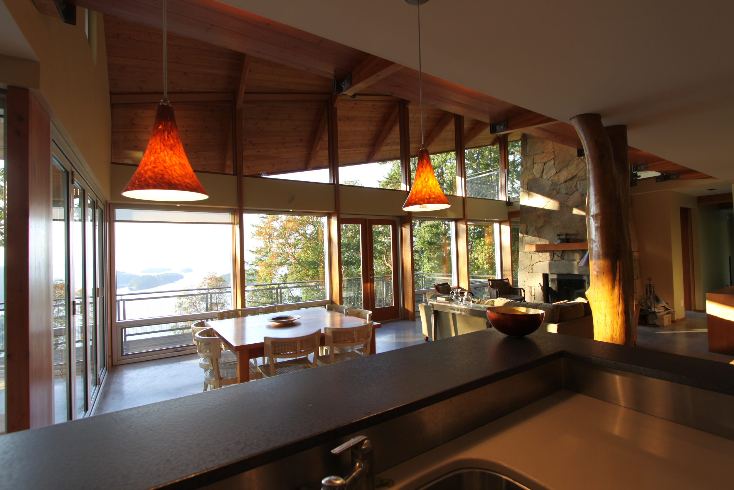 Kitchen counter top, bespoke glaze.  Private residence, Southern Gulf Islands, British Columbia, Canada.
