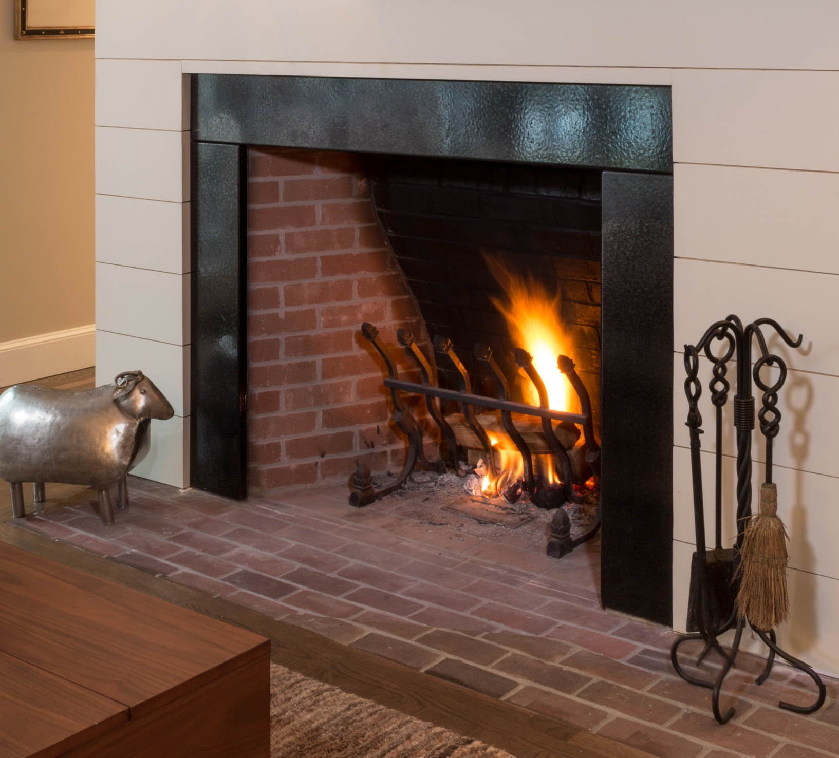Fireplace surround, Metallico glaze. Private residence, Cohasset, MA.