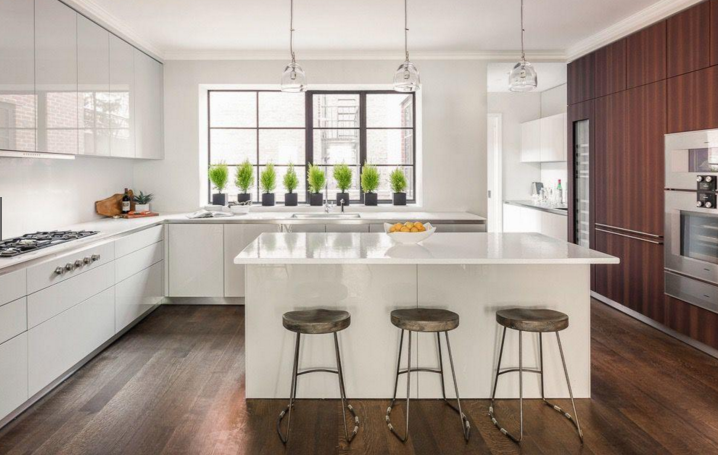 Kitchen island tops, Bianco glaze on peperino, New Construction, Chelsea, NYC, New York.