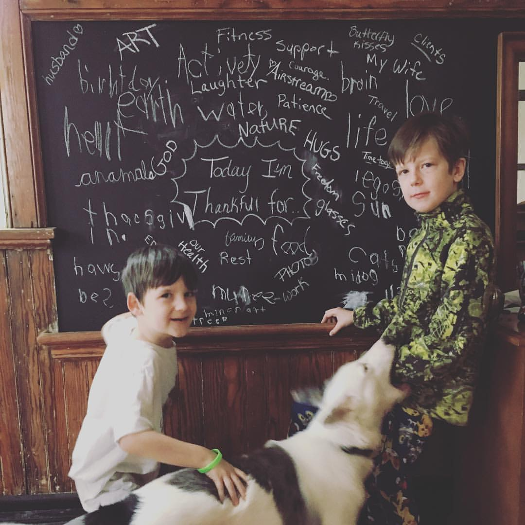 We even still use the chalk boards! Happy belated Thanksgiving by the way!..don't mind our attack dog Kodak! ;)