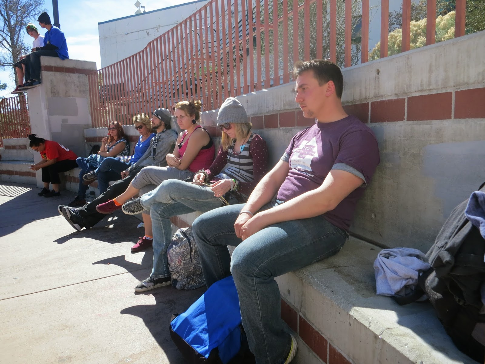 "The activists hung out at the ""Circle"" in downtown Reno, where many youths without homes hang out during the day."