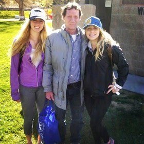Former UNR student Megan Parsons and current UNR student Reighan Fisher pose with Robert Basham after interviewing him in 2014.