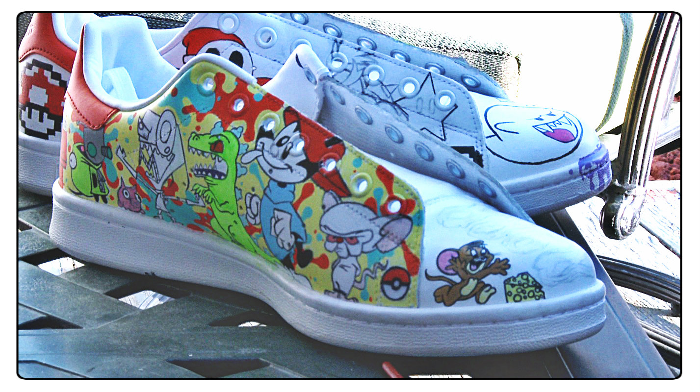 His shoe art combines pop culture references from television shows and video games.