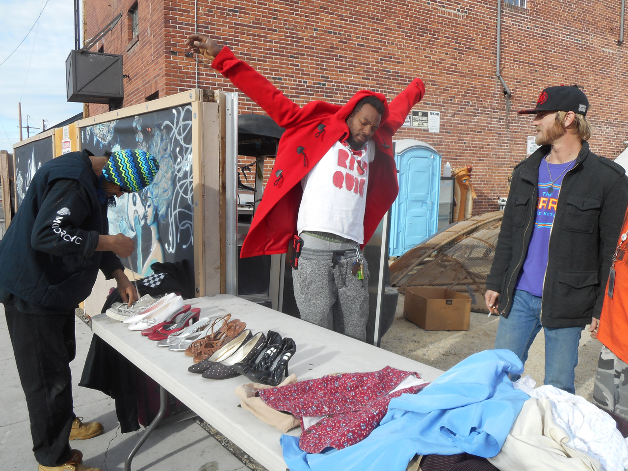 Shinobi (in red coat) who used to be homeless in Los Angeles, now helps the homeless in Reno through his involvement with the Morris Burner Hotel. Listen to his audio interview below:
