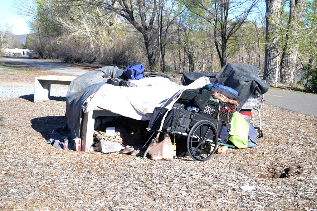 Bonnie says more fortunate residents should reach out to those who are homeless. Photo of her belongings by the Truckee River by Jose Olivares