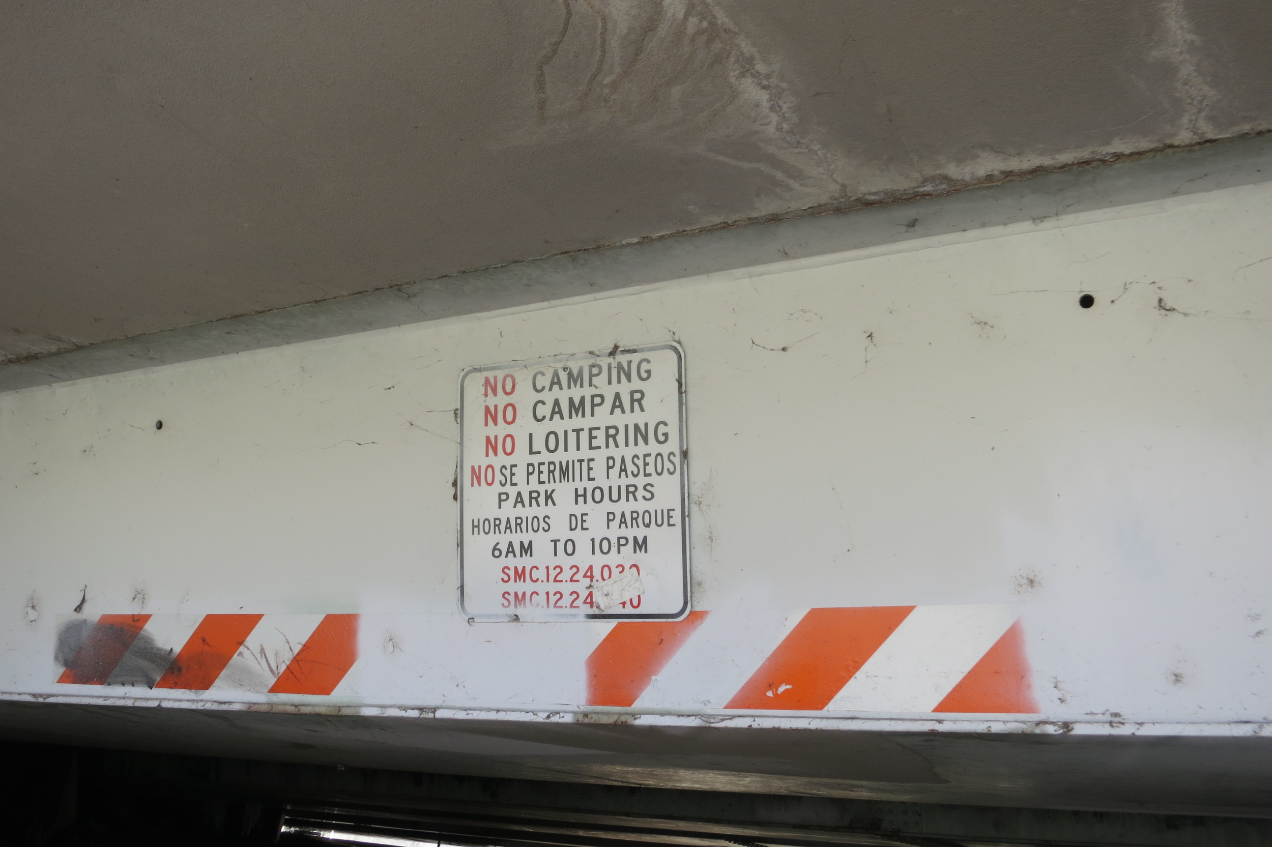 Homeless have also been sleeping under this bridge despite these signs. Jay believes there should be some designated areas they should be allowed to sleep.