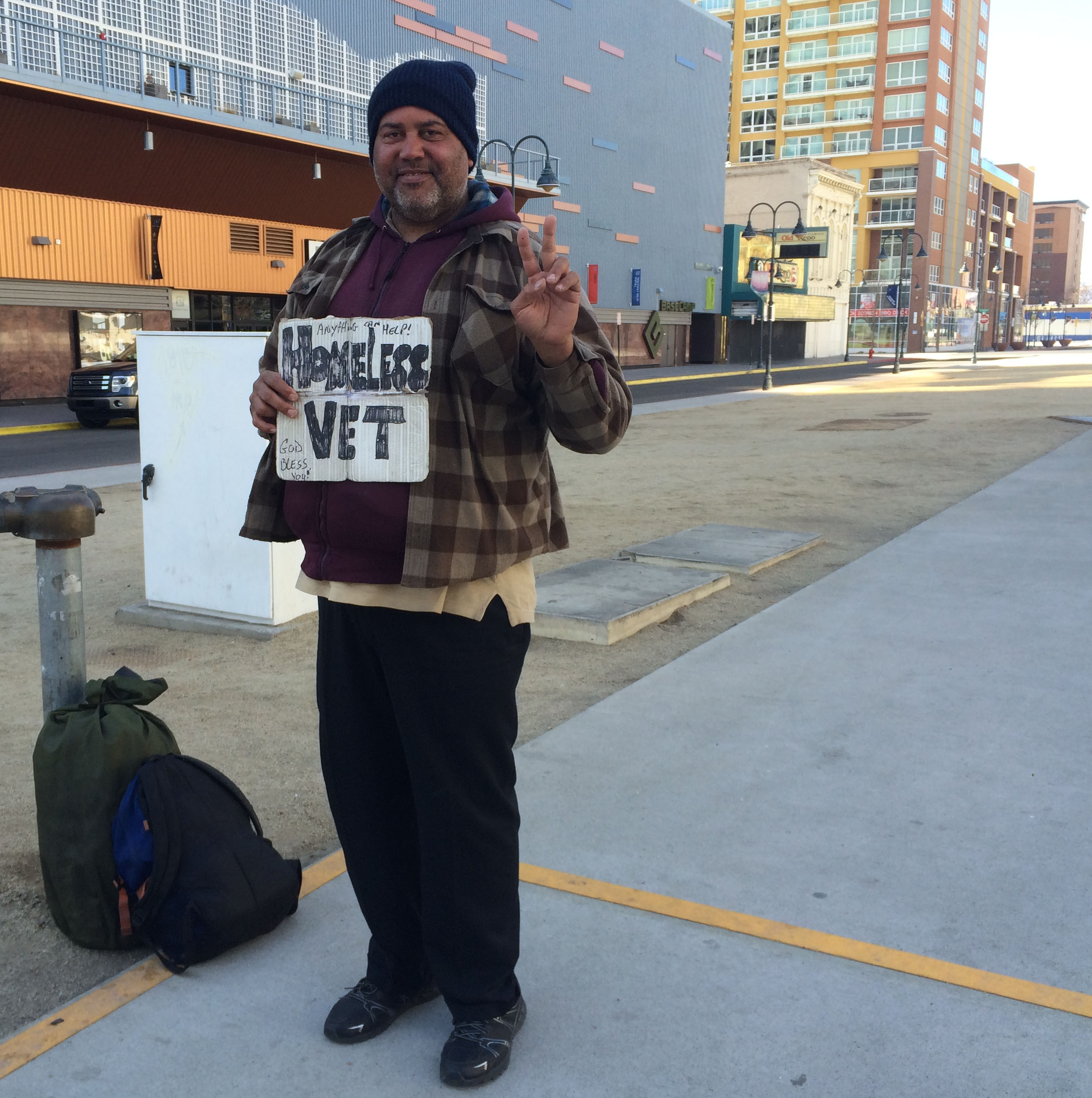 Stephen, a homeless vet in downtown Reno, gives a friendly smile. Photo by Marina Princeau for Our Town Reno.