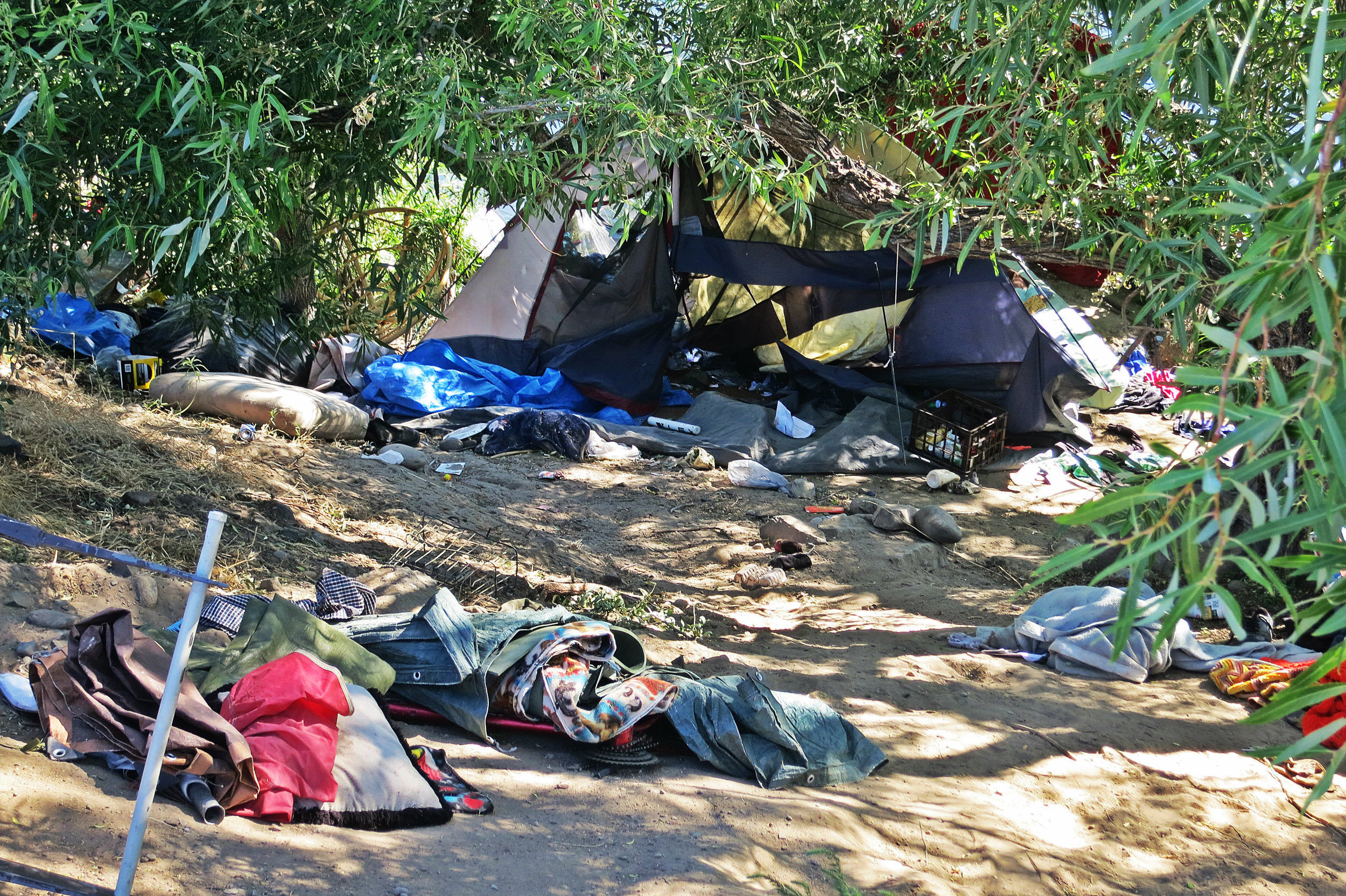 As homeless camping areas have increasingly been fenced off or disbanded in Reno, many tents are now on the Sparks side of the Truckee river bank. July 4, 2016