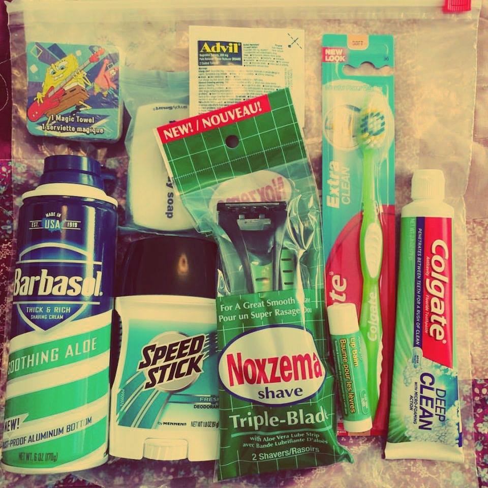 This is one of the hygiene kits Bean has assembled to leave behind in a restroom as a surprise gift to someone like her Dad who could use it.