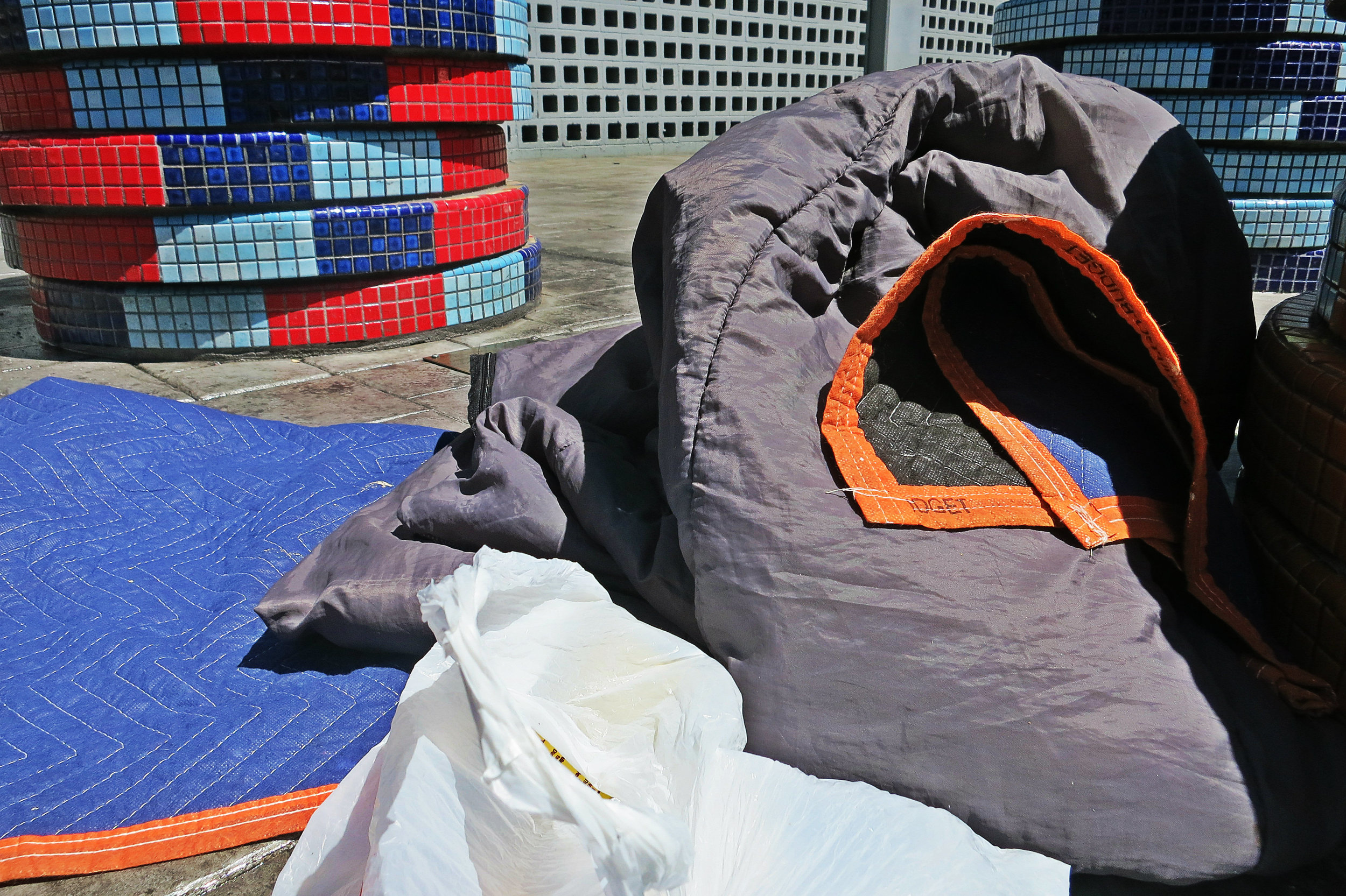 Grackle recently lost stuff and was down to blankets, a sleeping bag, a tobacco can without much tobacco left, food stamps, a flask and a lunch sack.