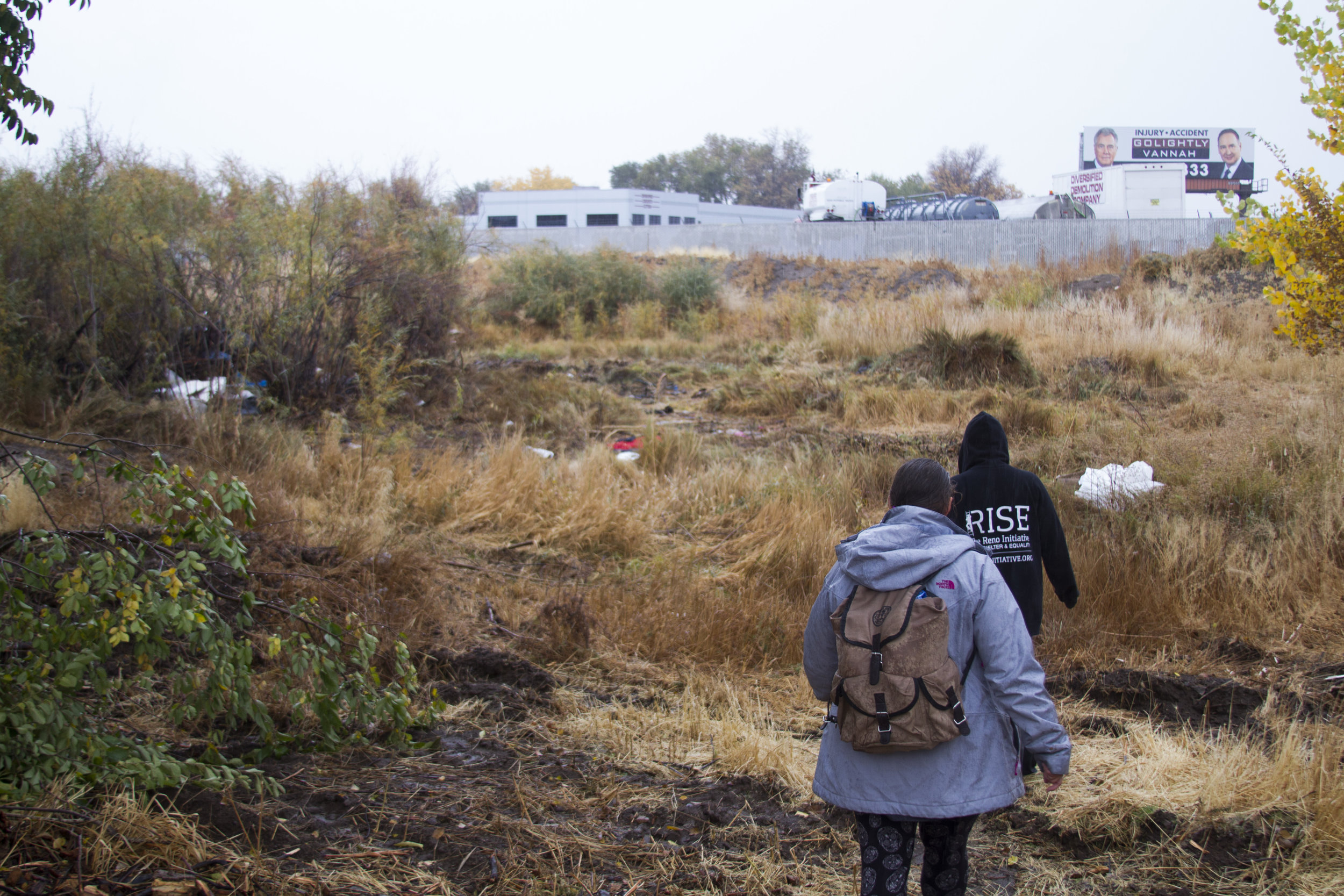 Colling and Cassady walk through the area where they confronted the chainsaw workers.