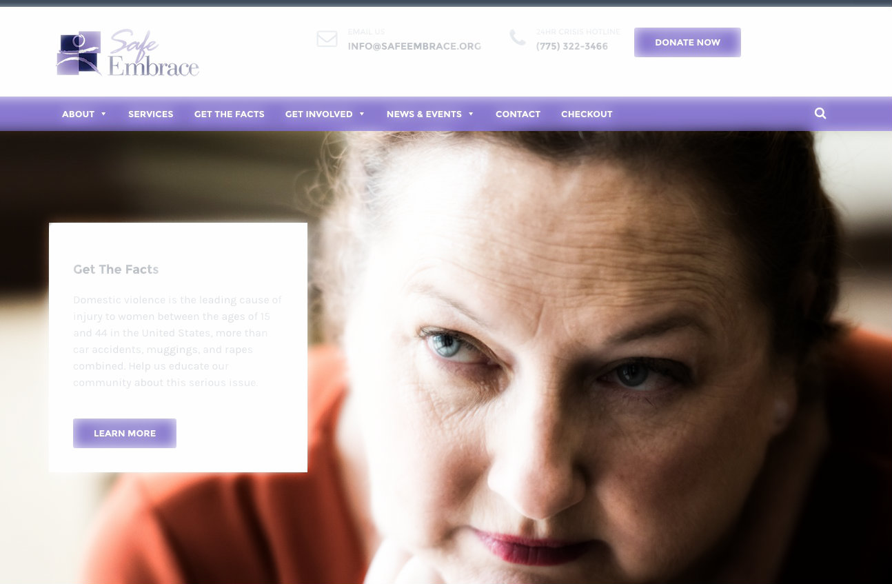 A screengrab from the website of Safe Embrace, a Sparks-based nonprofit which educates the community and provides services to survivors of domestic and sexual violence.