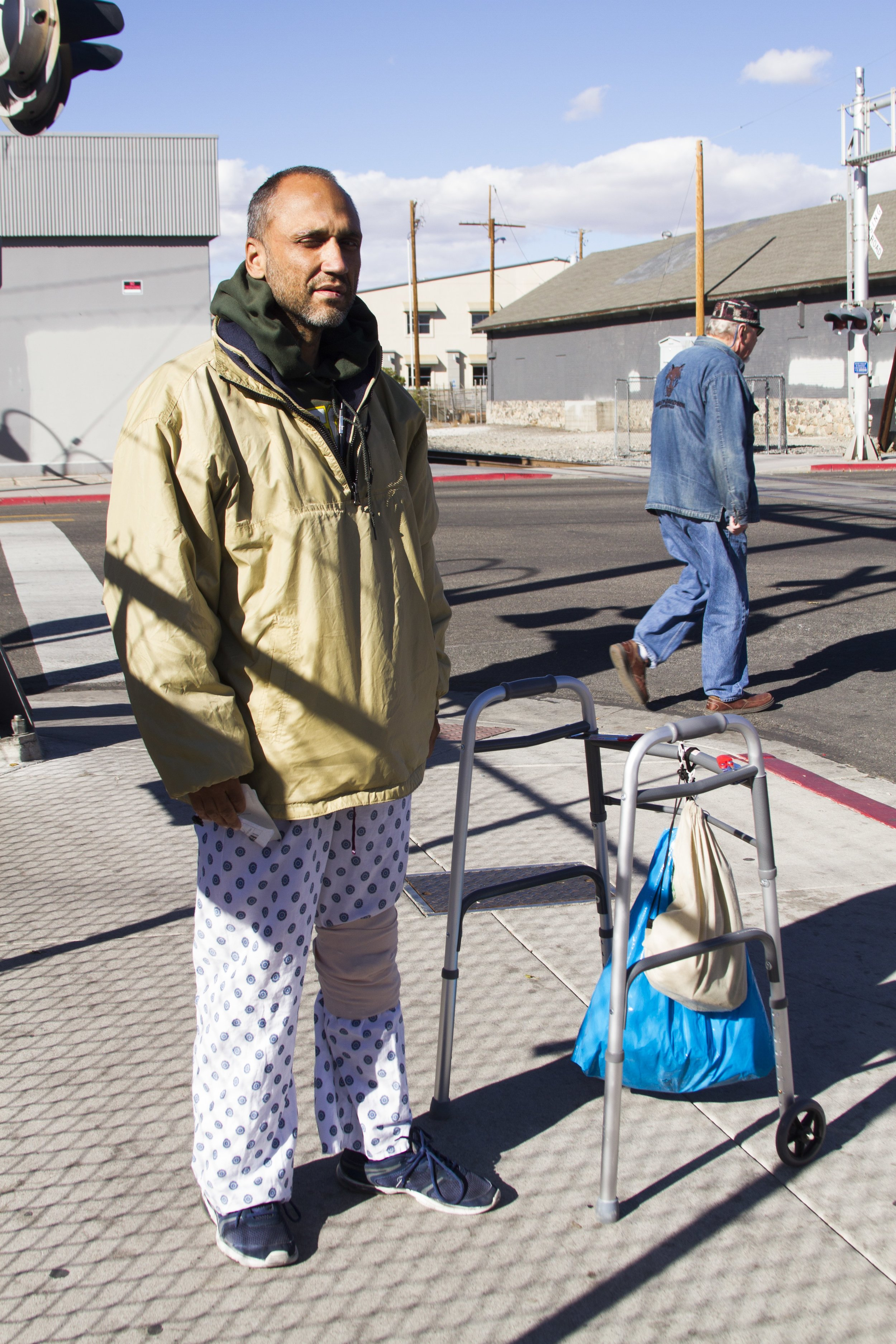 Our Town Reno first met Perez in early November. We wrote a story on people's outlook for the U.S. election. We met him on Fourth Street in downtown Reno. He was wearing a hospital gown and was slowly shuffling down the sidewalk with assistance from a walker.