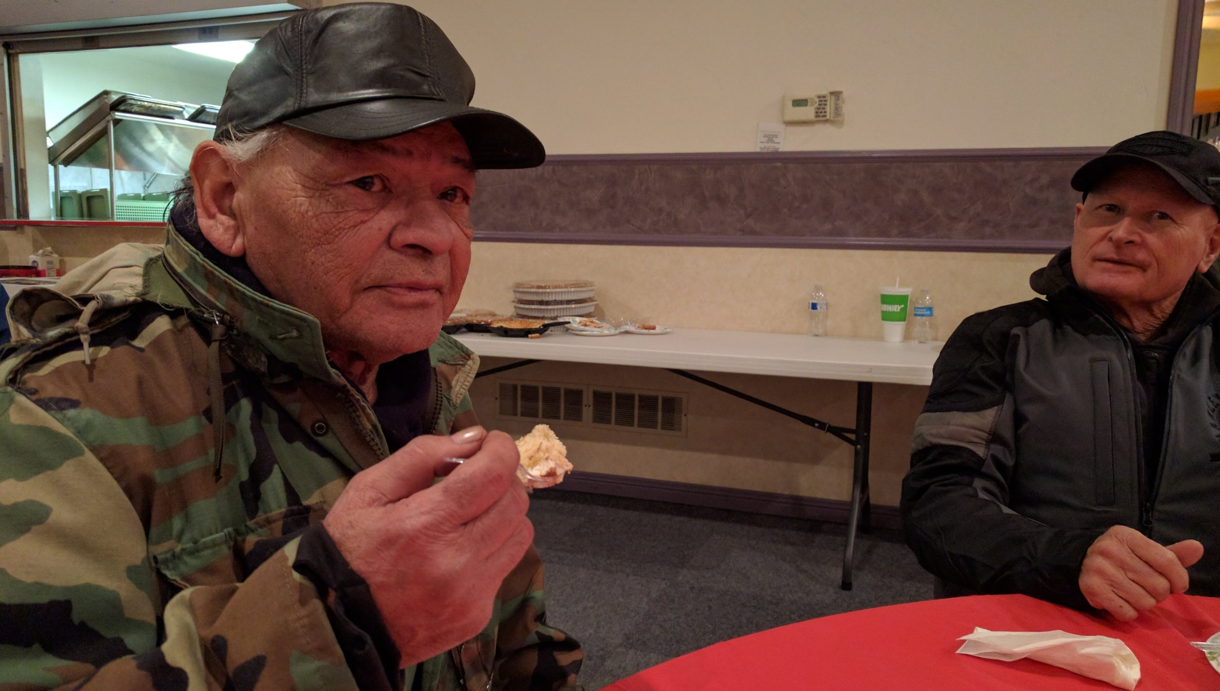 """I'm breathing good. I quit gambling and drinking. I used to have a nice car before but then I lost everything,"" said Manny Perez, at a recent dinner for Veterans. Photo by Tim Lenard."