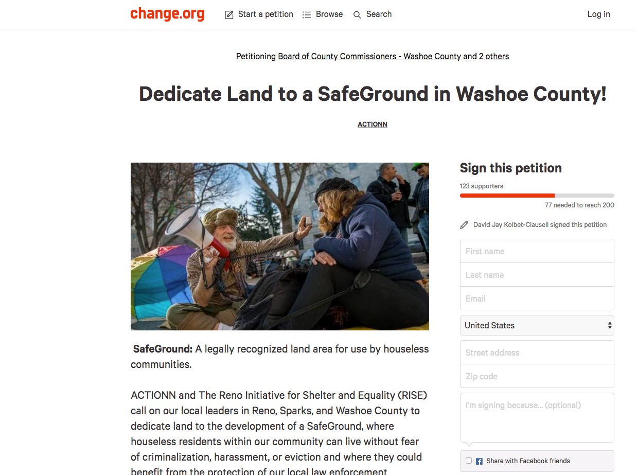 "According to the petition .... ""A SafeGround provides an alternate and temporary location to increase our service capacity for houseless community residents to live in a safe area where they have access to services and training that will provide them entry into community-building, outreach, employment, and permanent housing."""