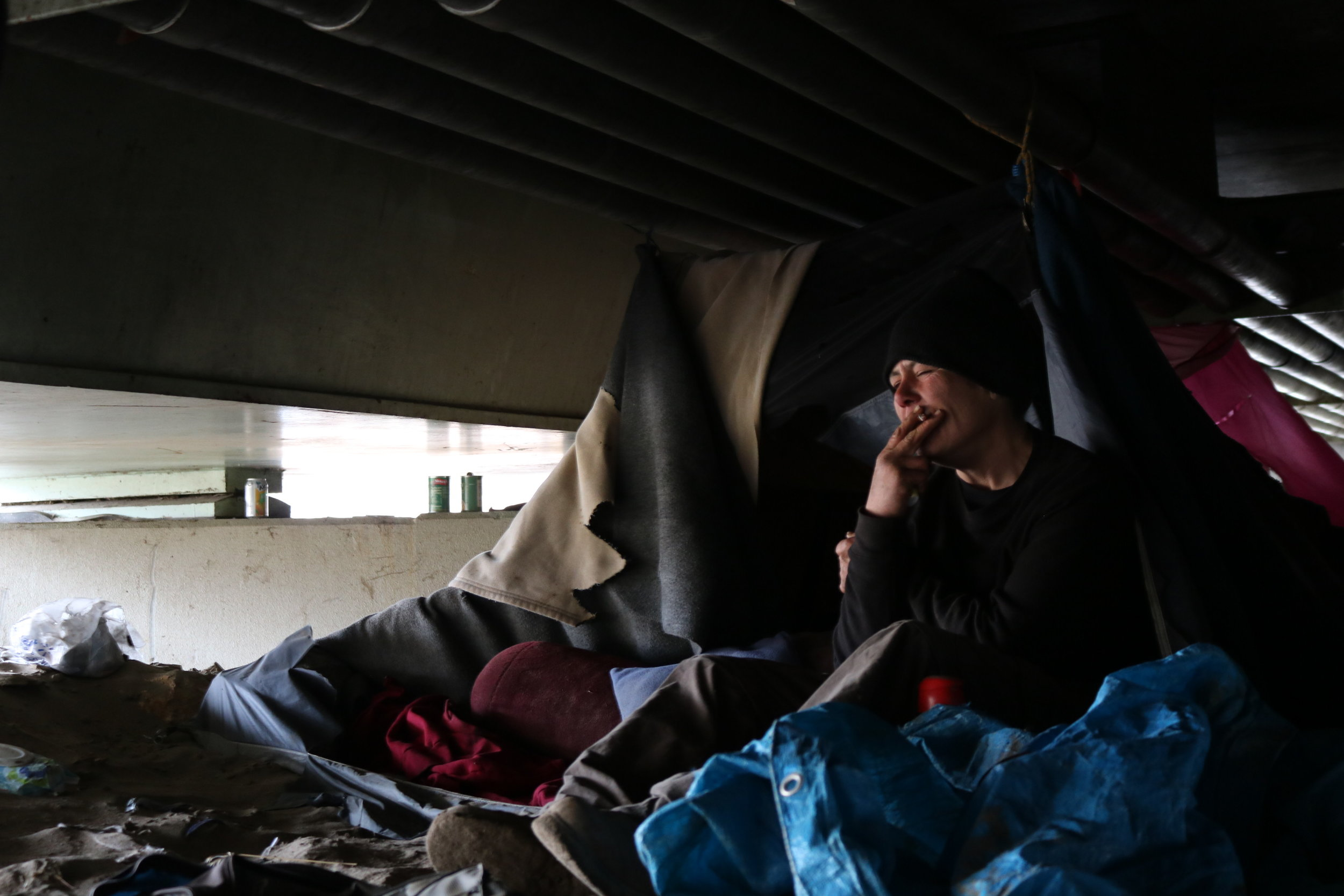 """For thos  e who make their home here, coming back to their belongings has been disheartening. If their camp sites are still somewhat intact, everything is soaked. """"It was all wet,""""Catherine Clark said. """"Everything that I had there that was dry, even the tent, is wet. Inside and out."""""""